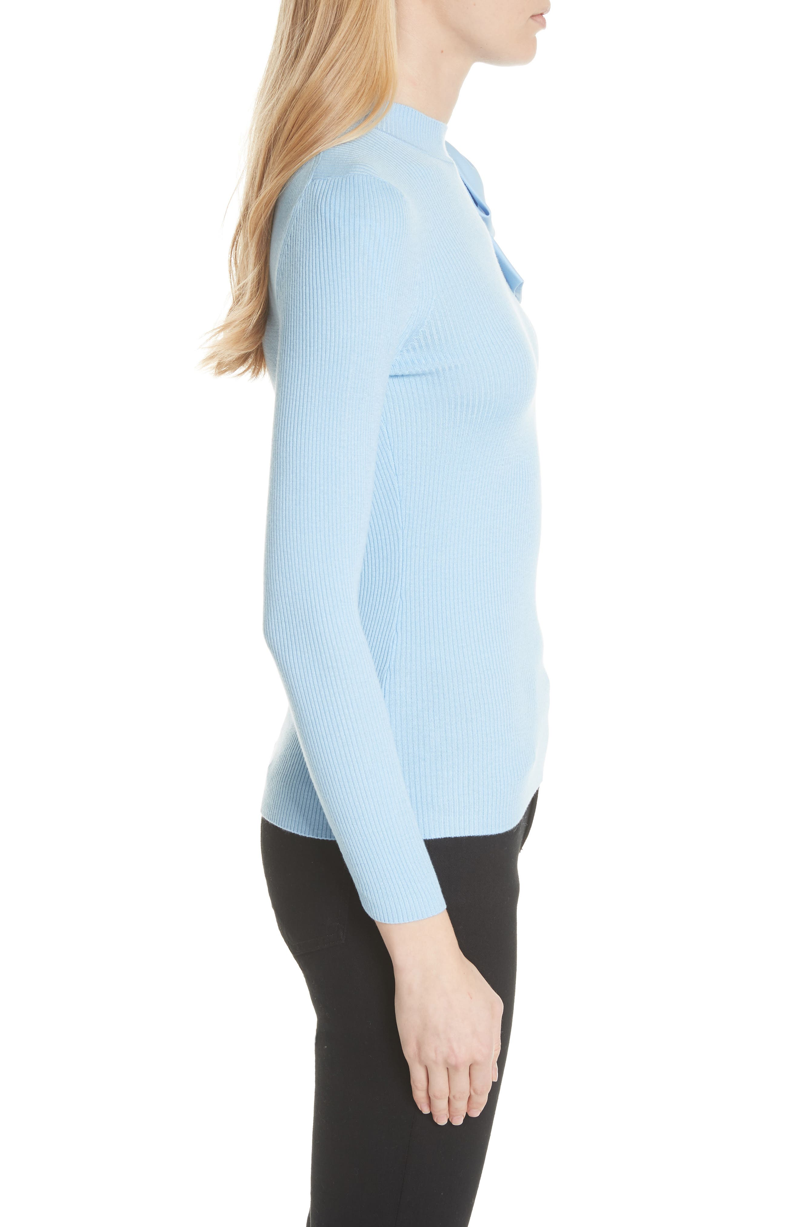 Bow Detail Ribbed Sweater,                             Alternate thumbnail 3, color,                             Pale Blue