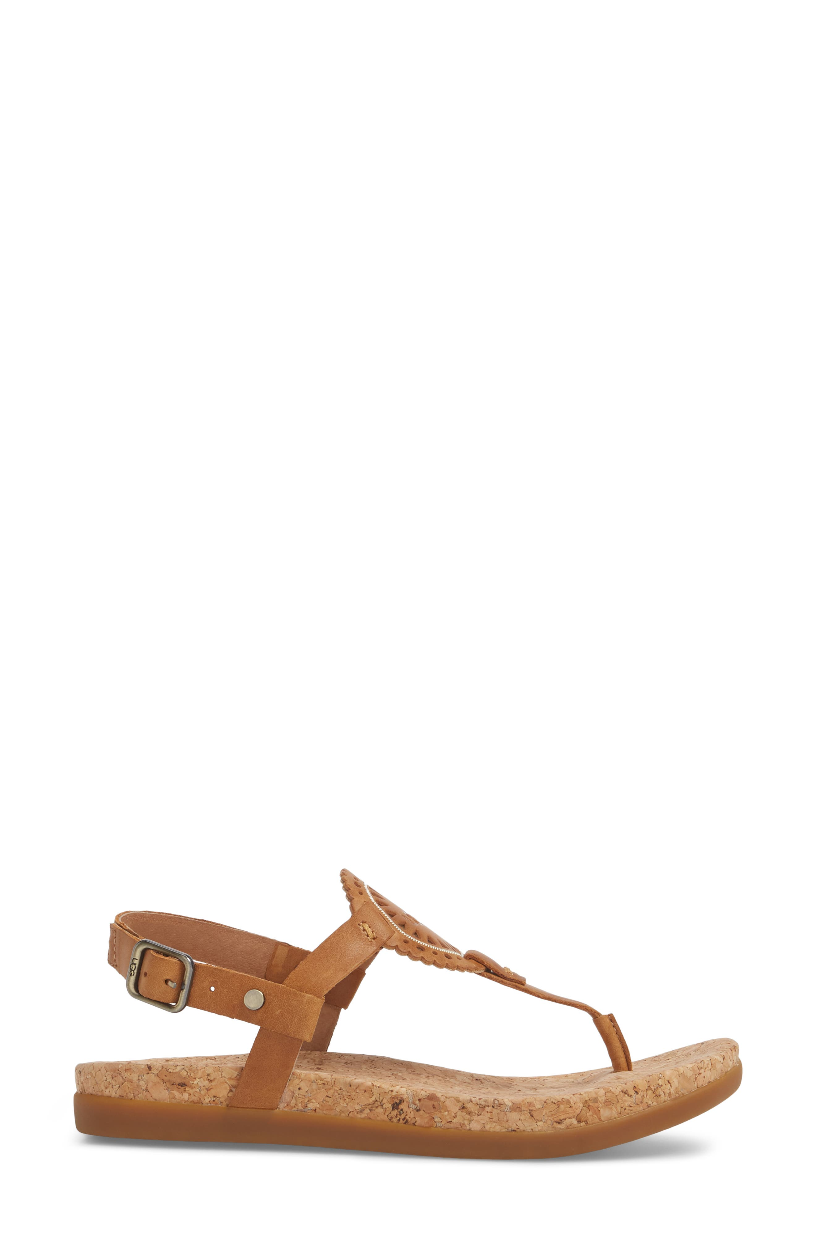 Ayden II T-Strap Sandal,                             Alternate thumbnail 3, color,                             Almond Leather