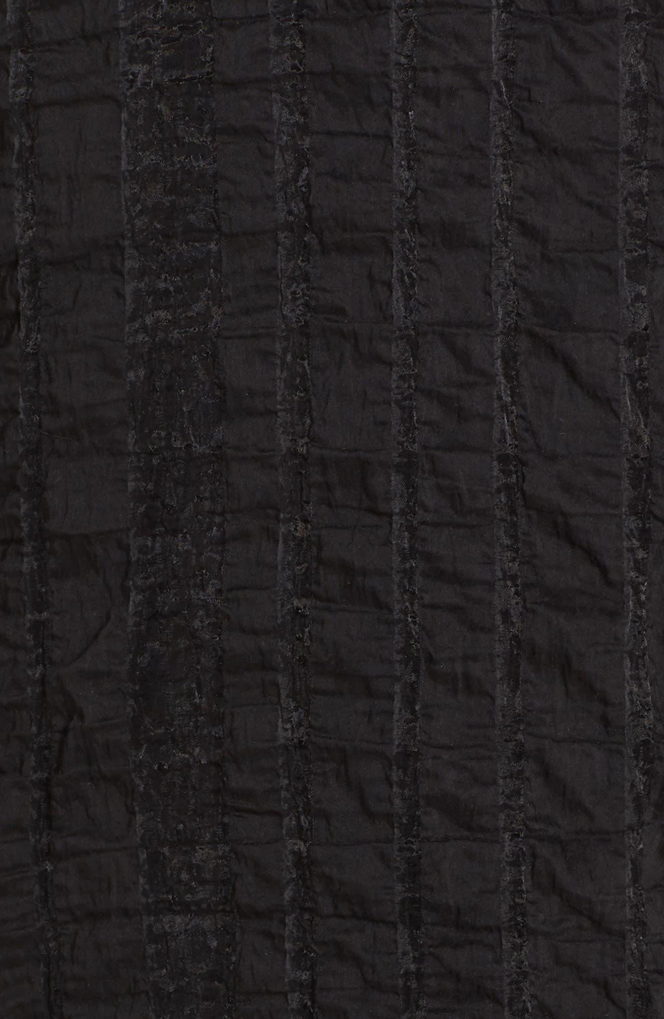 Susie Textured Tea Length Dress,                             Alternate thumbnail 5, color,                             Black