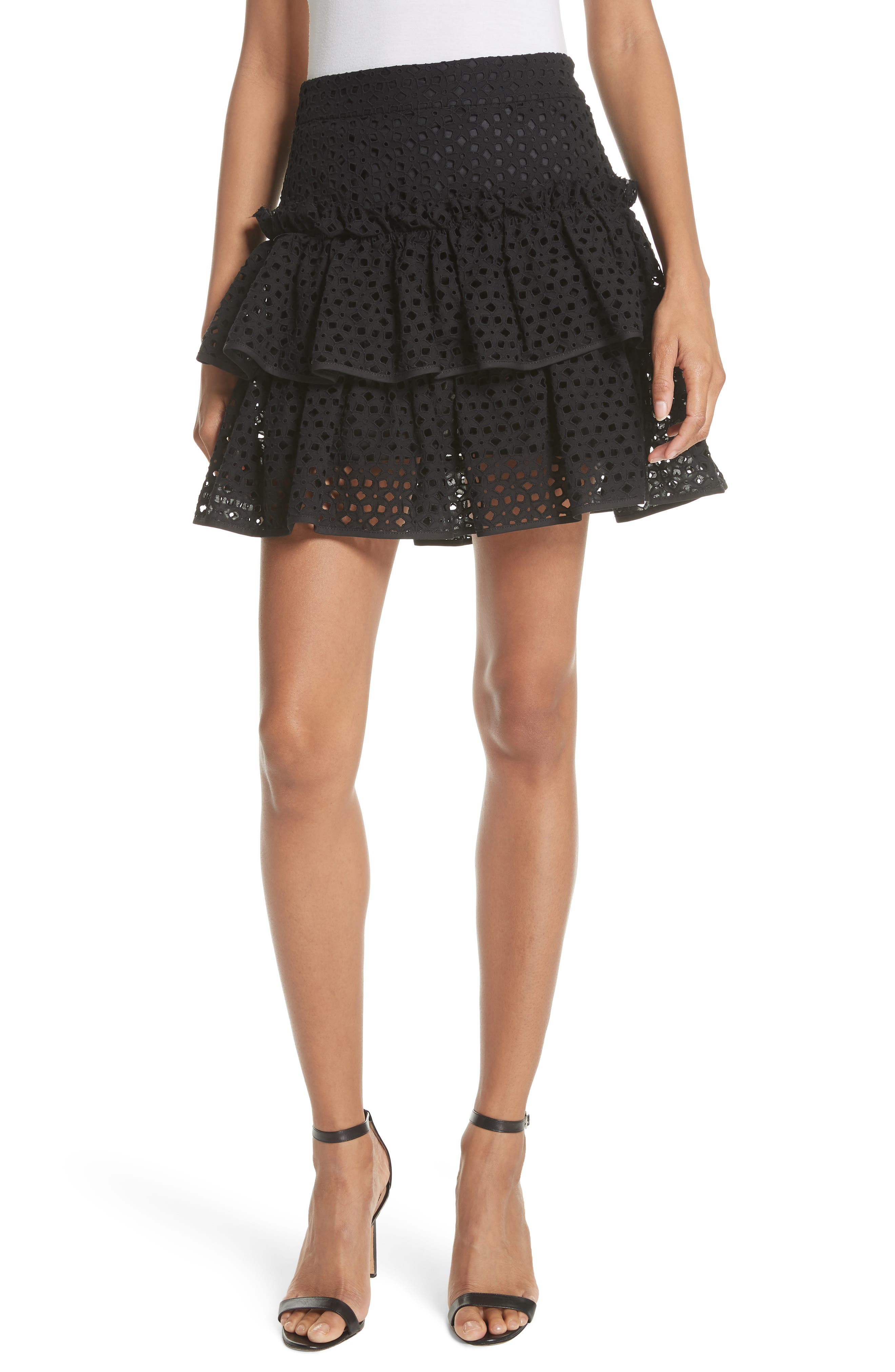 Floral Ruffle Tiered Cotton Eyelet Miniskirt,                         Main,                         color, Black