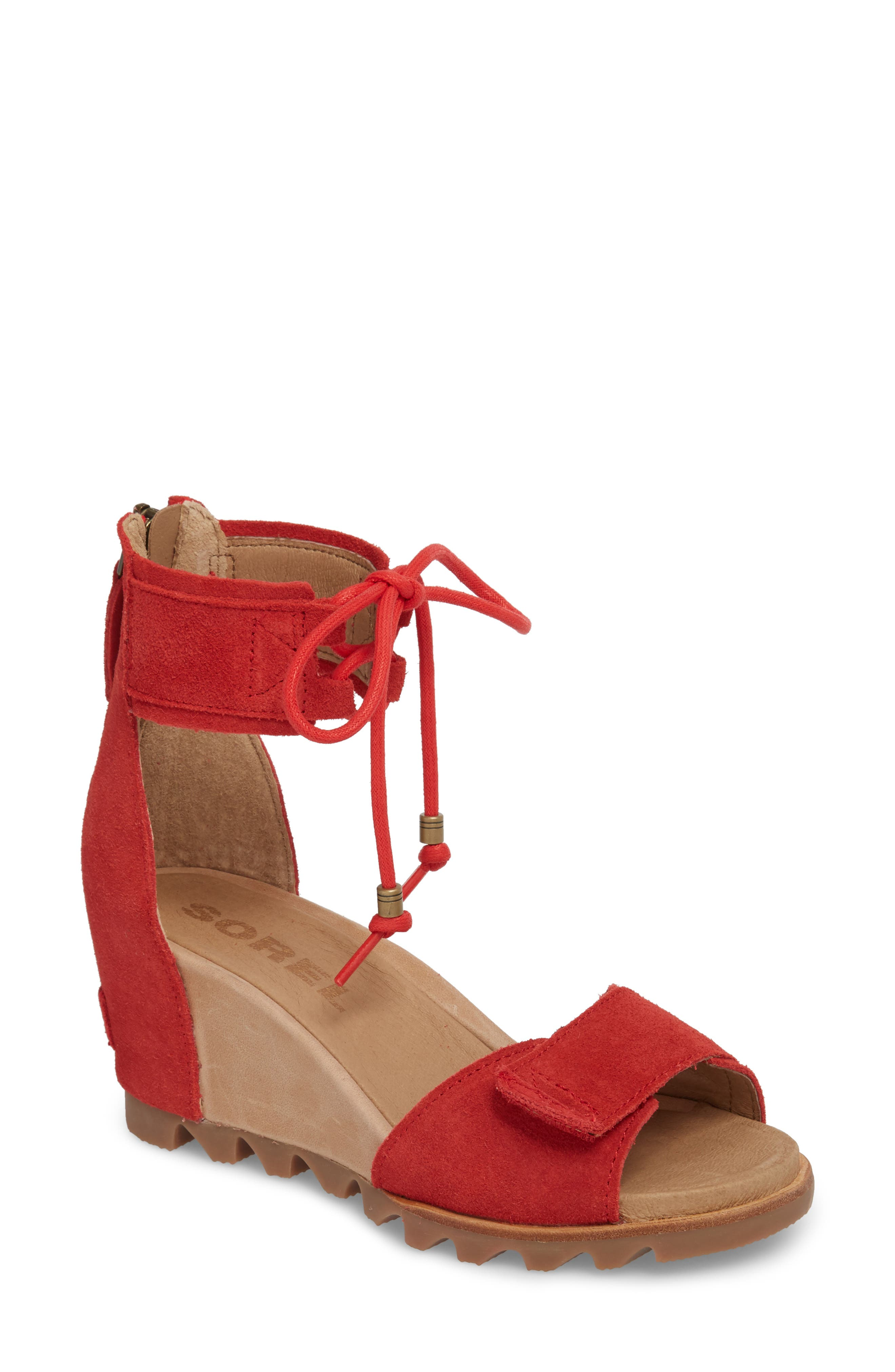 Joanie Cuff Wedge Sandal,                             Main thumbnail 1, color,                             Bright Red