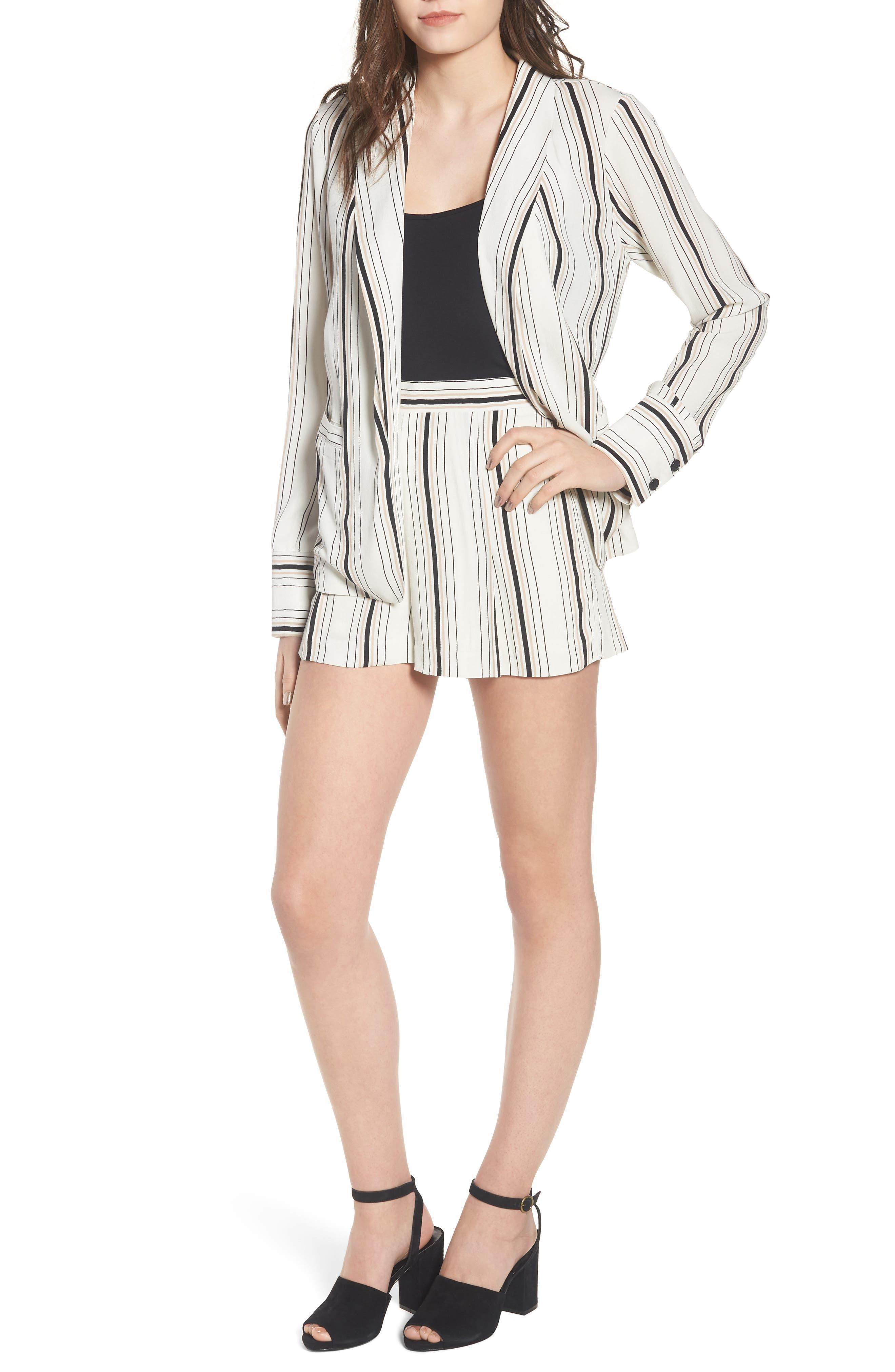 Stripe High Waist Woven Shorts,                             Alternate thumbnail 2, color,                             Ivory Stripe