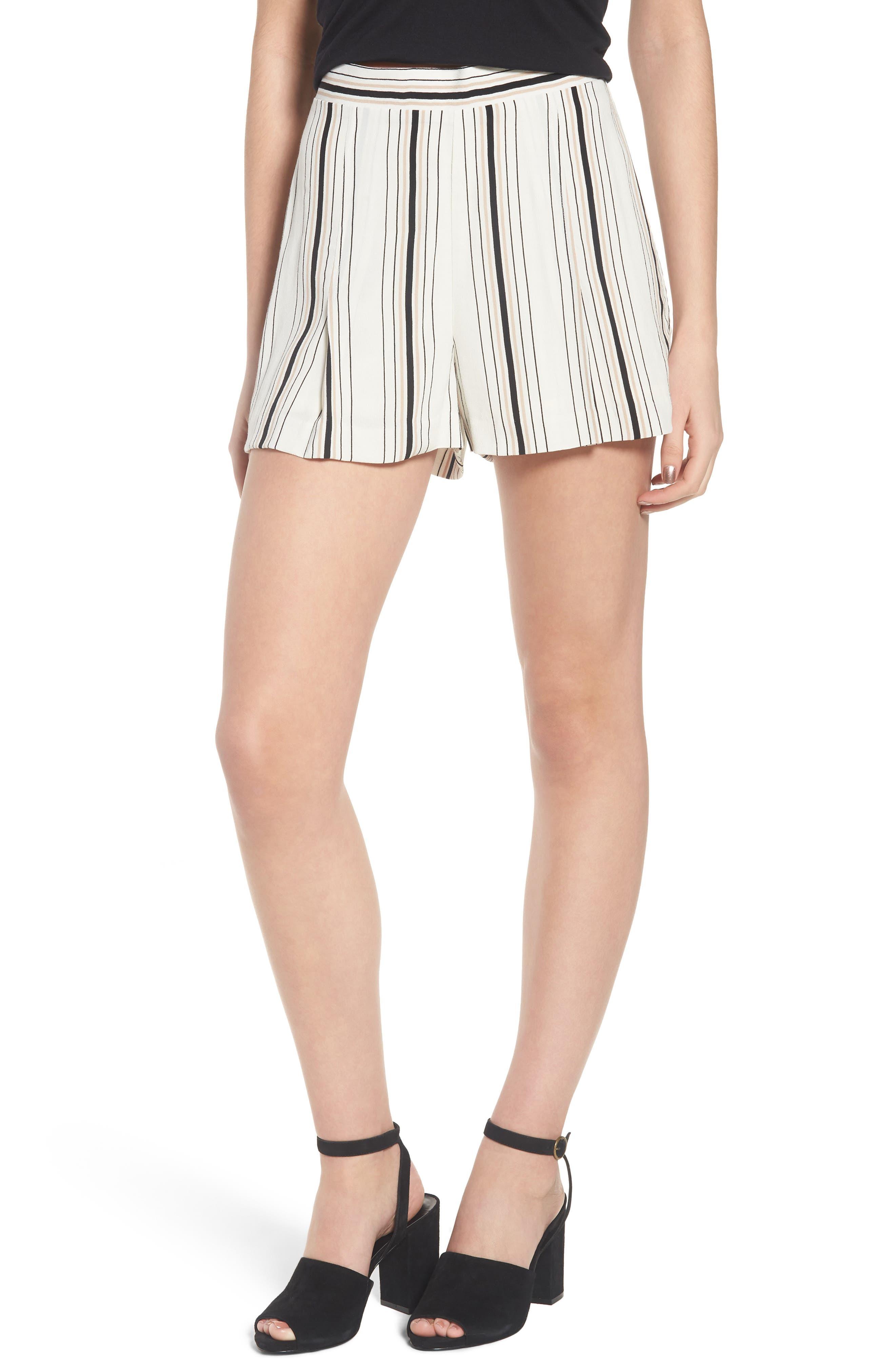 Stripe High Waist Woven Shorts,                             Main thumbnail 1, color,                             Ivory Stripe