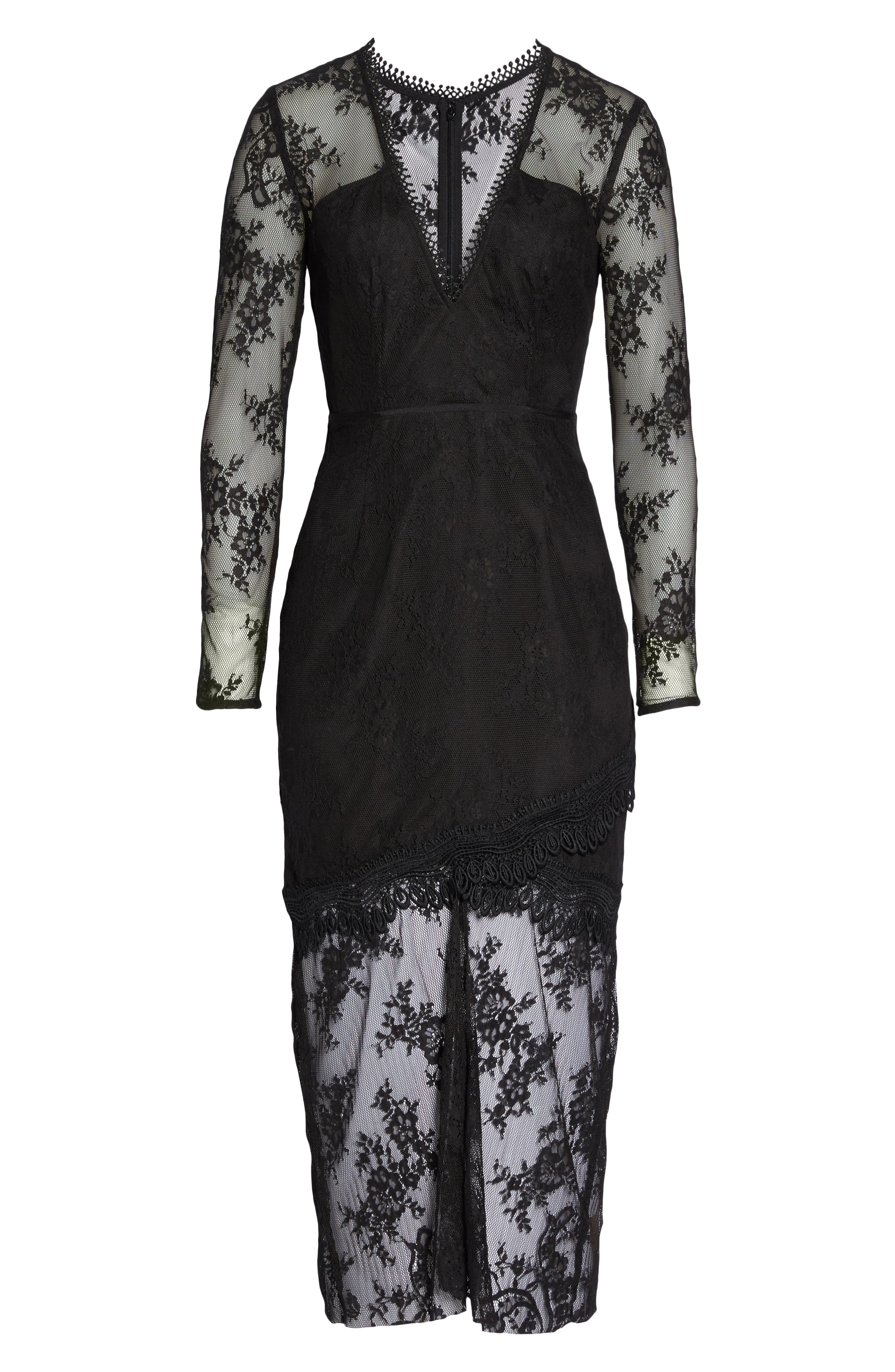 True Chemistry Lace Sheath Dress,                             Alternate thumbnail 6, color,                             Black