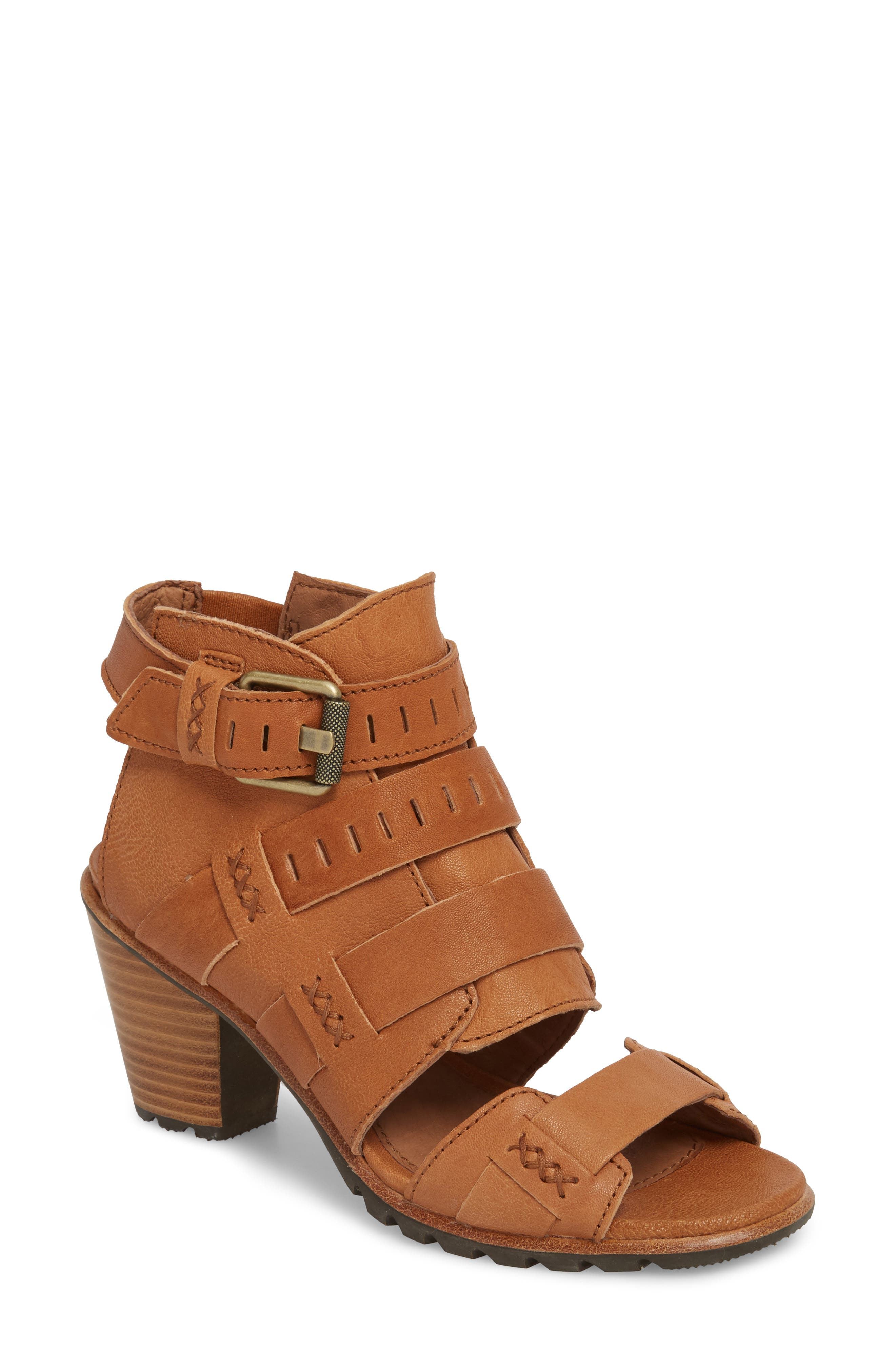 Nadia Buckle Bootie,                             Main thumbnail 1, color,                             Camel Brown