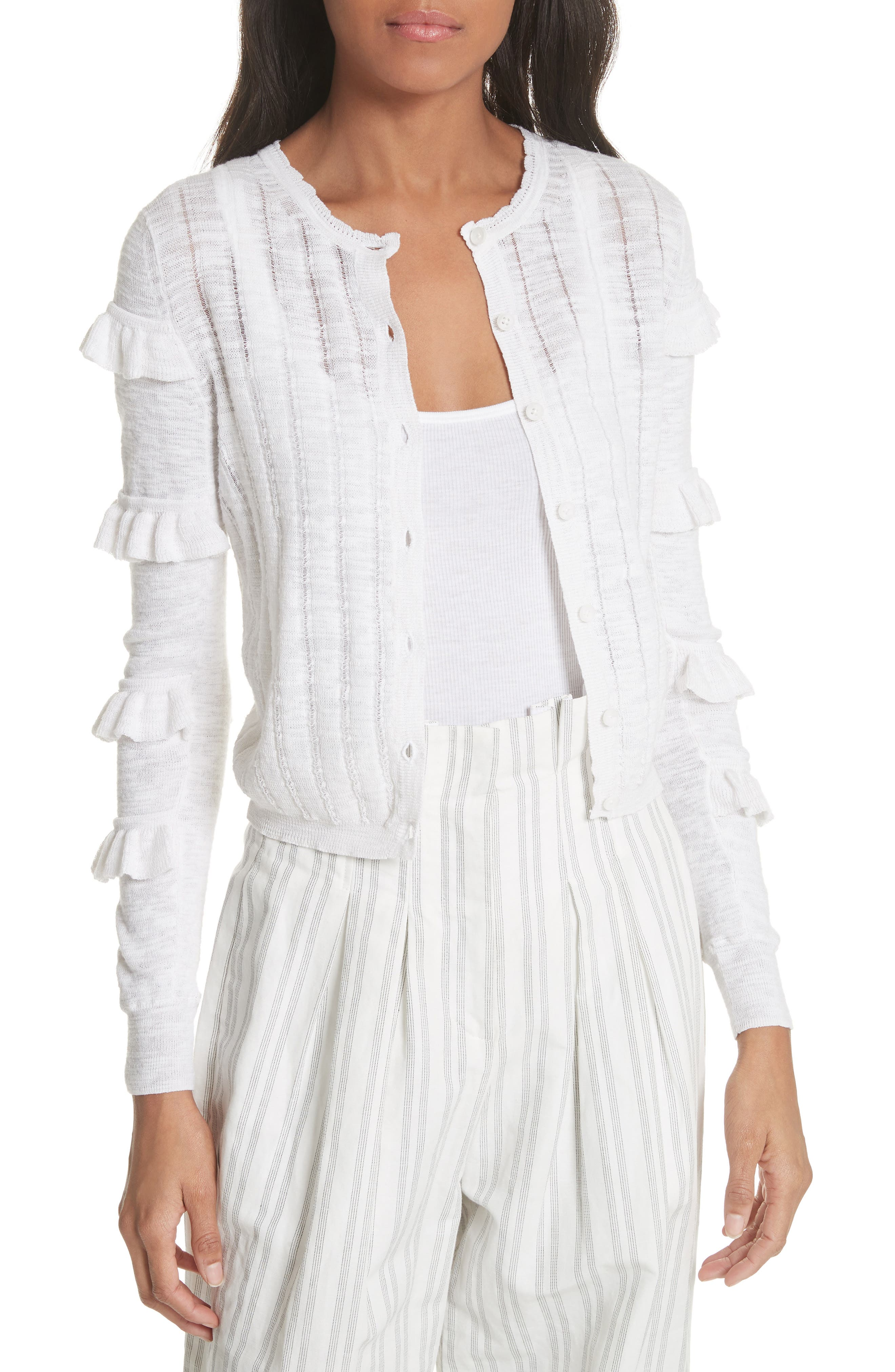 Tiered Ruffle Sleeve Cotton Blend Cardigan,                             Main thumbnail 1, color,                             Snow