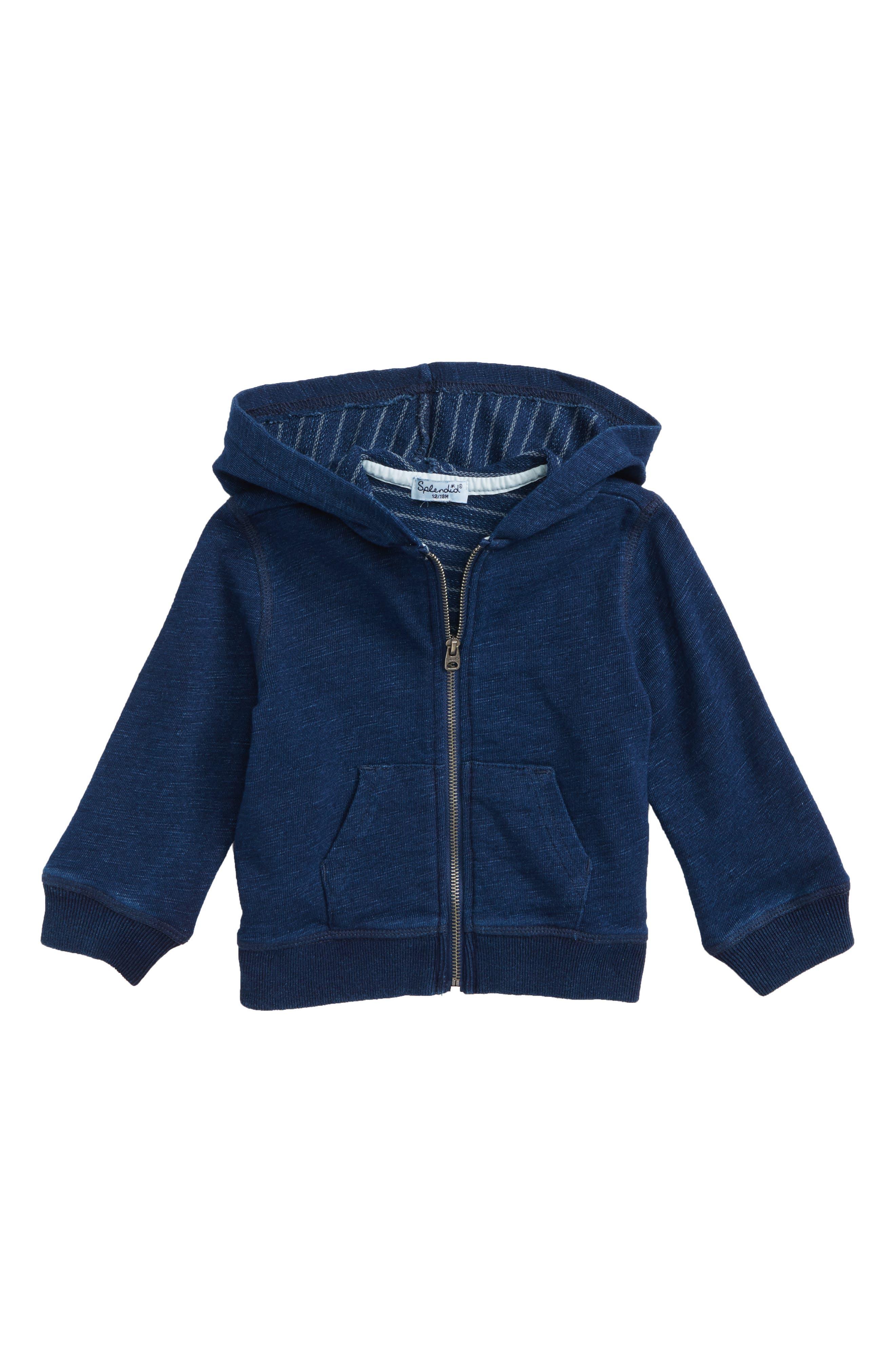 Double Knit Zip Hoodie,                         Main,                         color, Dark Stone/ Indigo