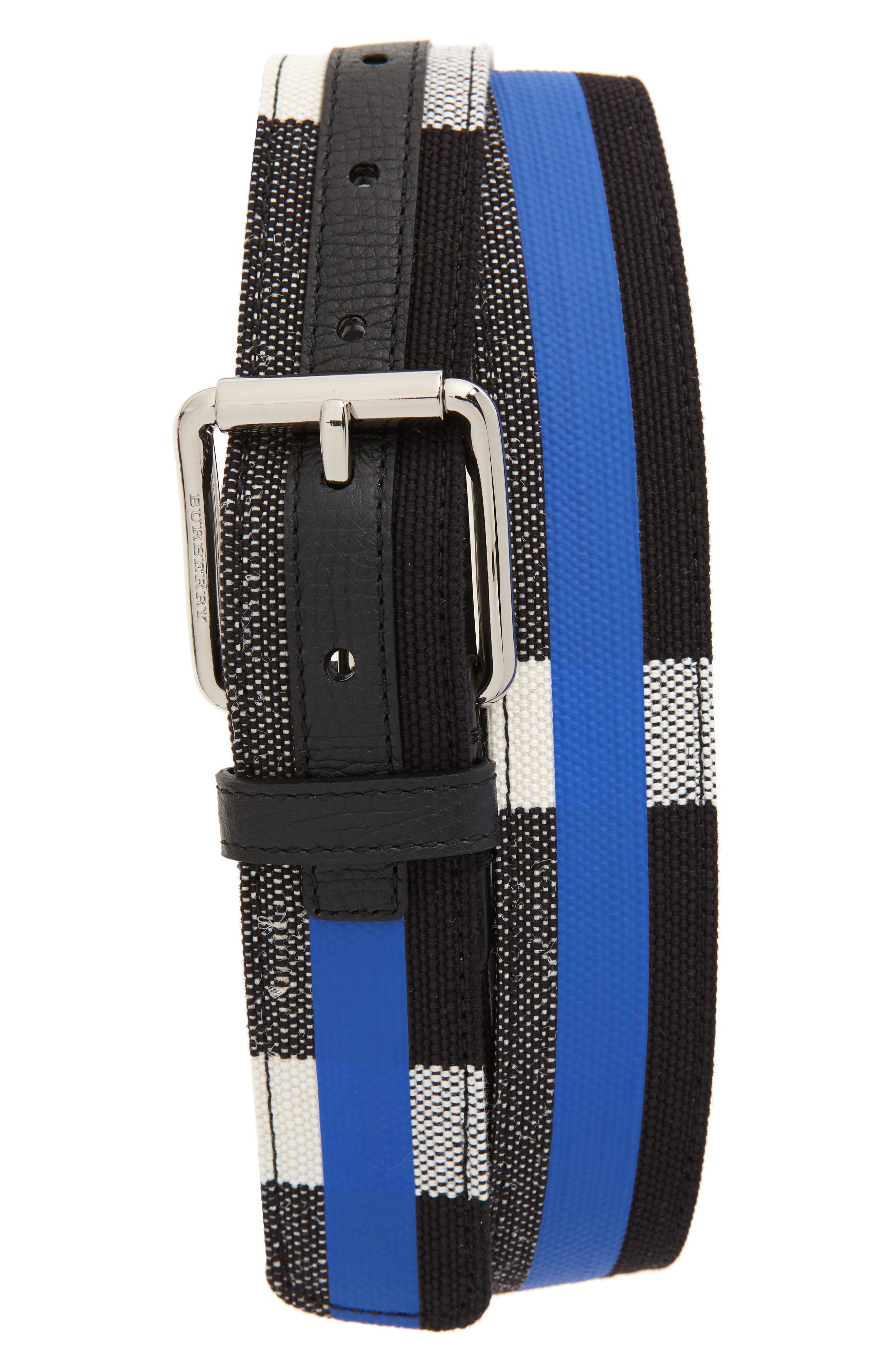 Roller Buckle Woven Belt,                         Main,                         color, Blueberry/ Black