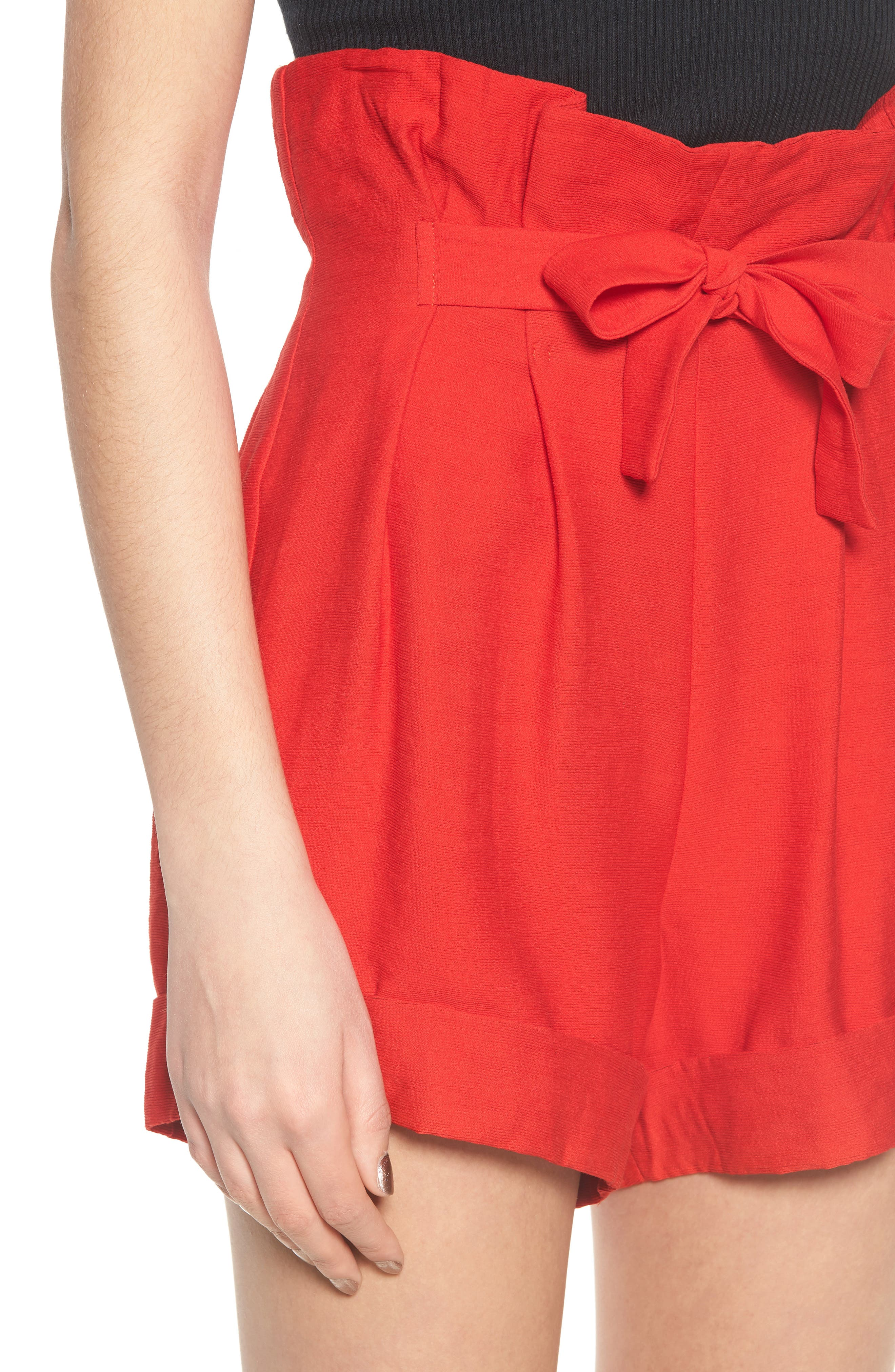 High Waist Short with Tie Detail,                             Alternate thumbnail 5, color,                             Red