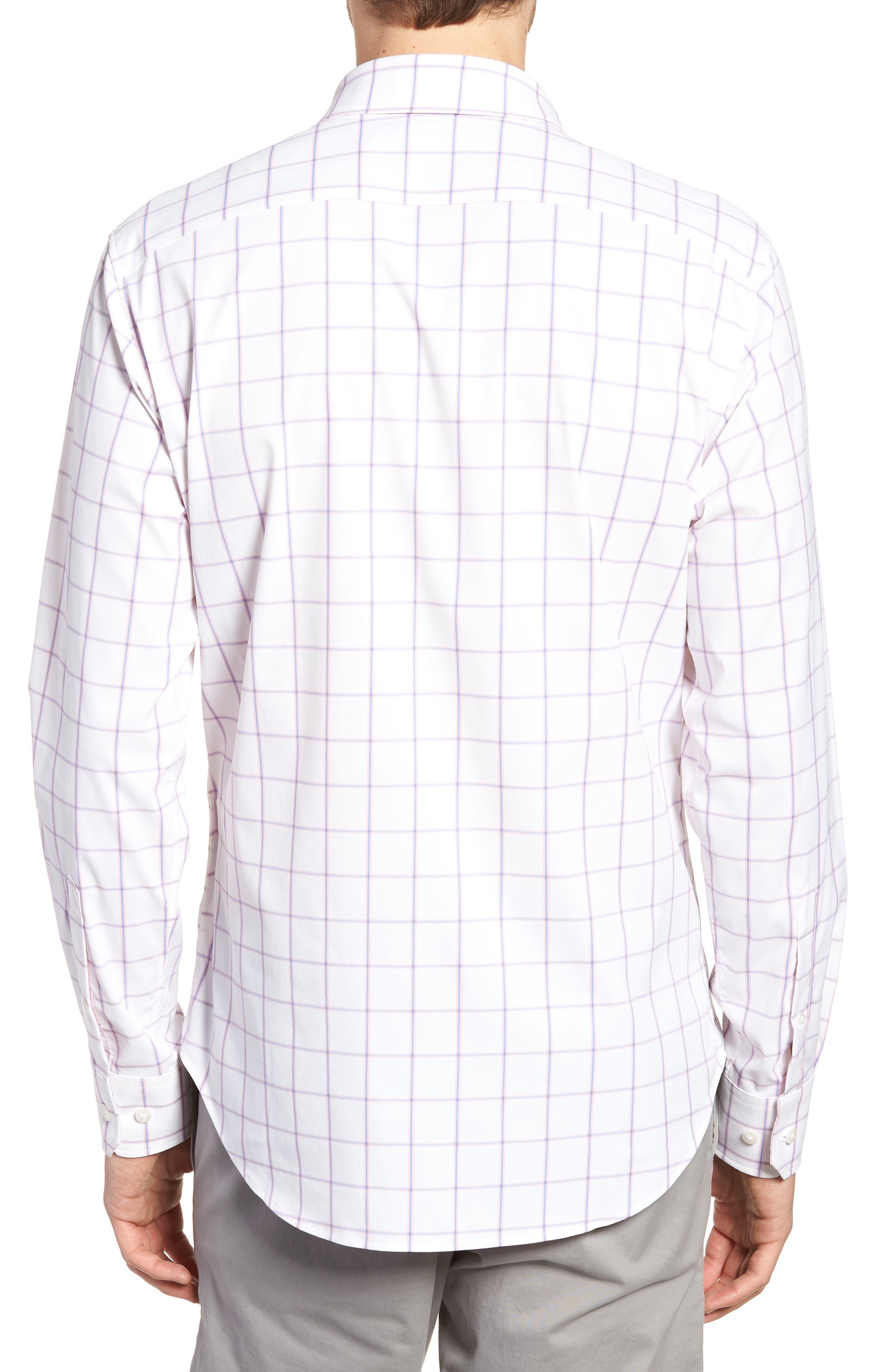 Slim Fit Check Performance Sport Shirt,                             Alternate thumbnail 3, color,                             Bronte - Bermuda