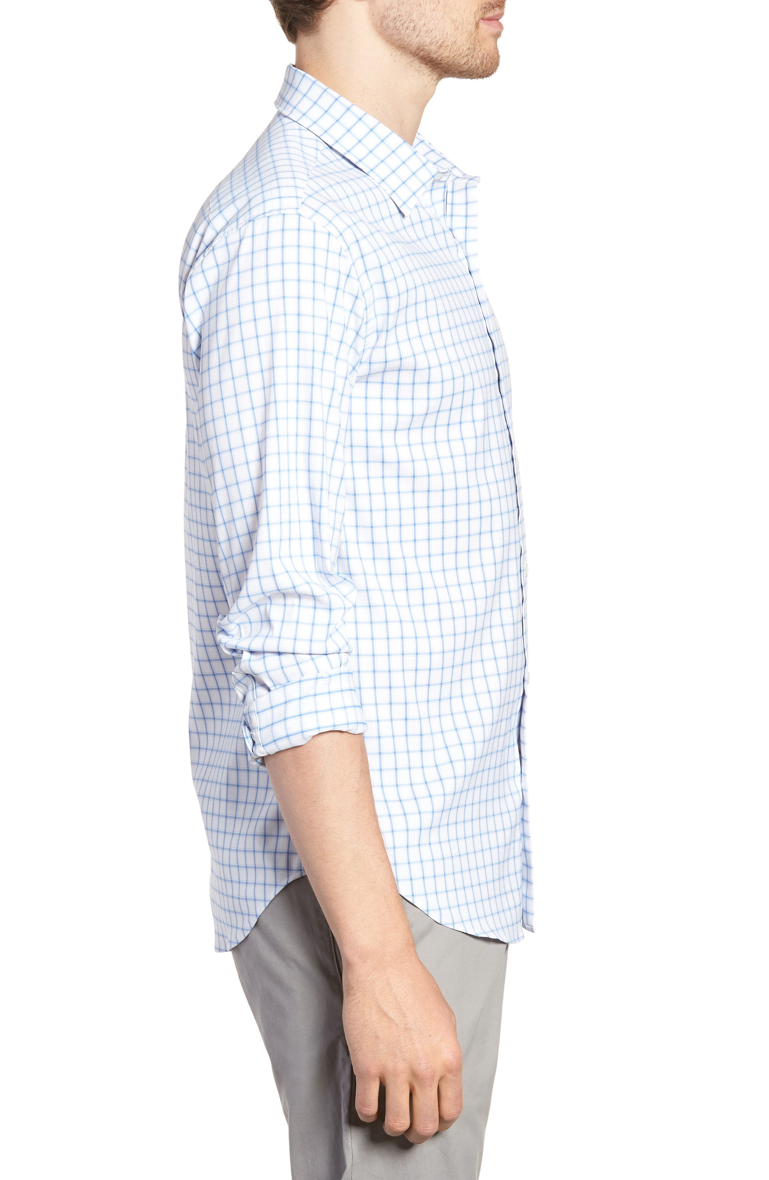 Slim Fit Check Performance Sport Shirt,                             Alternate thumbnail 4, color,                             Bray Oxford - Peony Coral