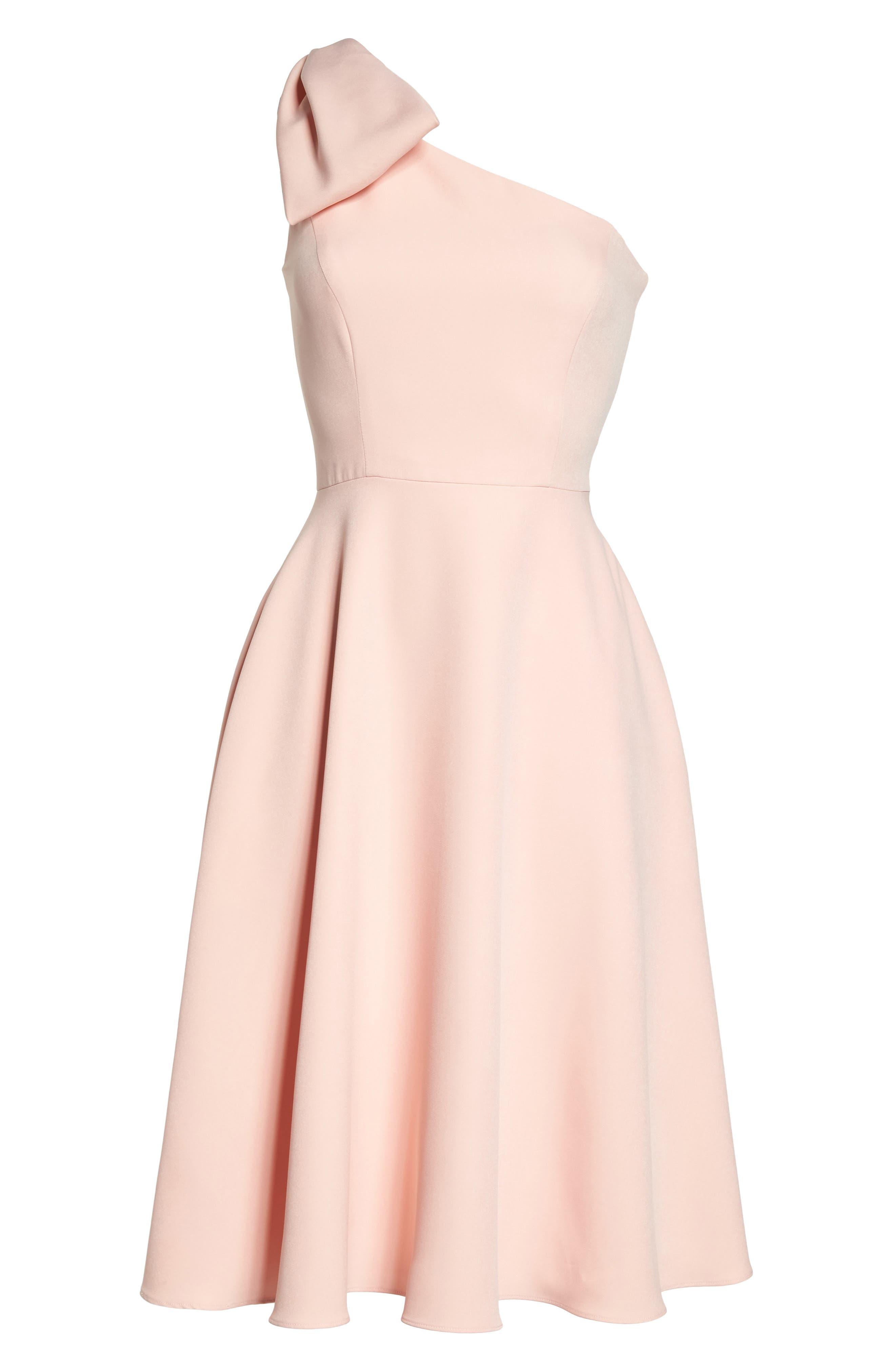 Yvonne Dream Crepe One-Shoulder Dress,                             Alternate thumbnail 8, color,                             Rose Quartz