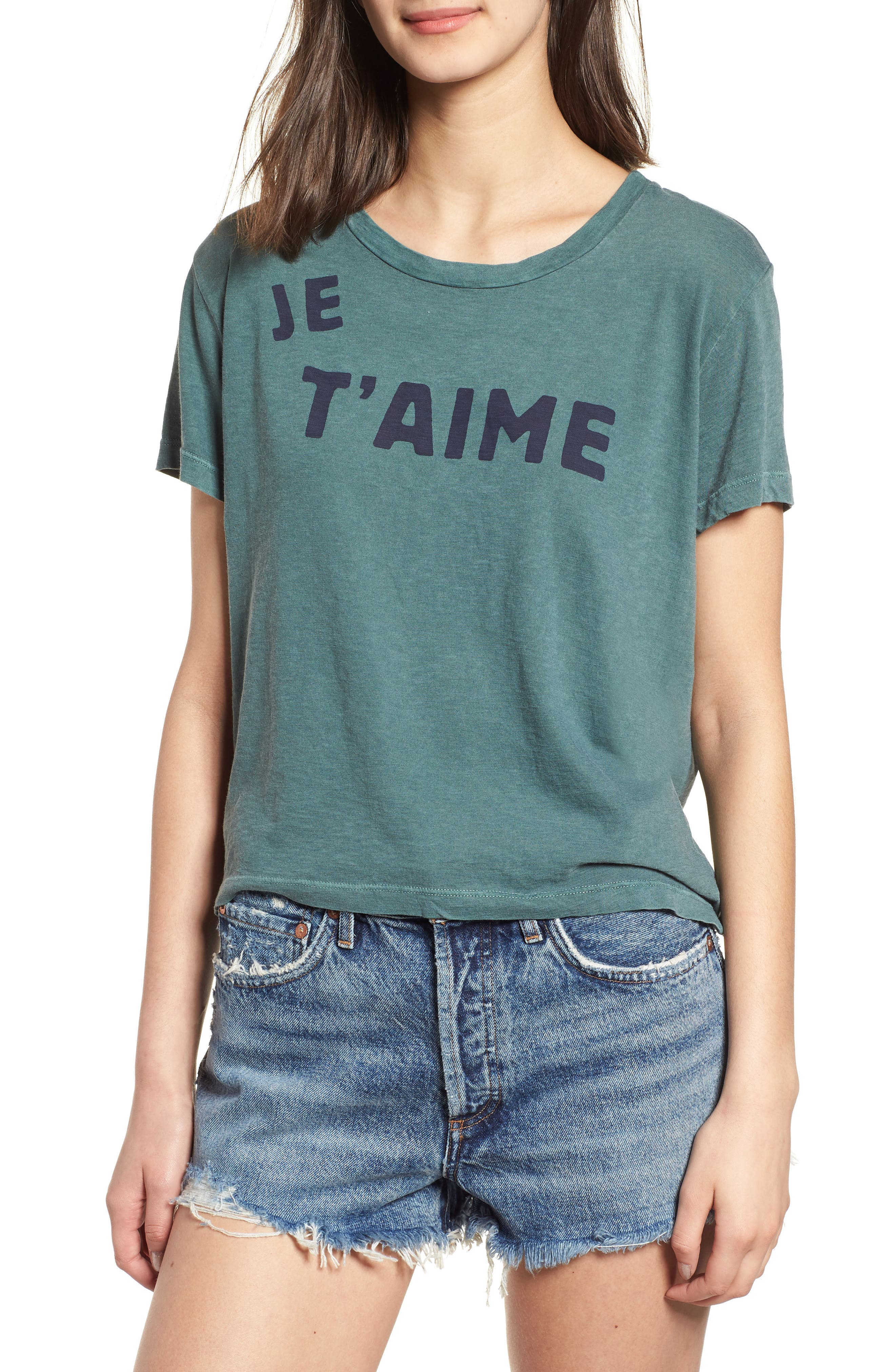 Je T'aime Tie Back Tee,                         Main,                         color, Pigment Forest