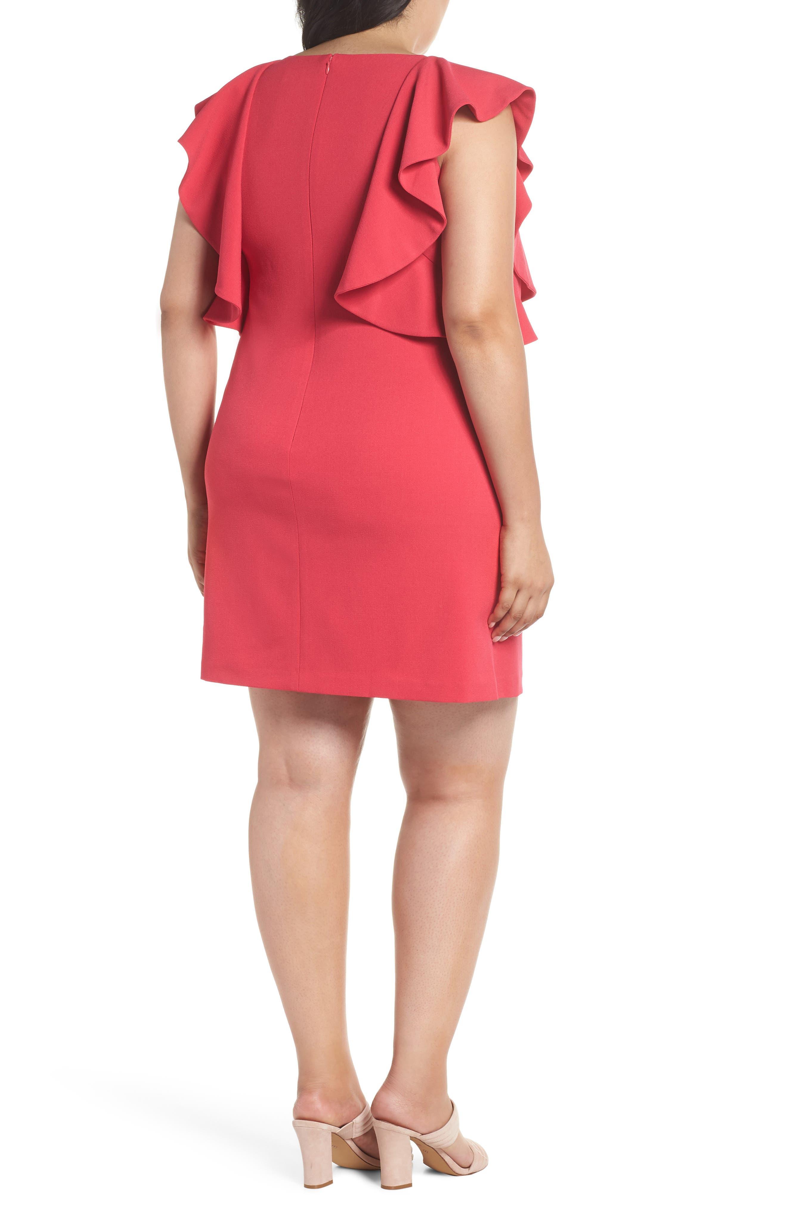 Flutter Sleeve Shift Dress,                             Alternate thumbnail 2, color,                             Pink Rose