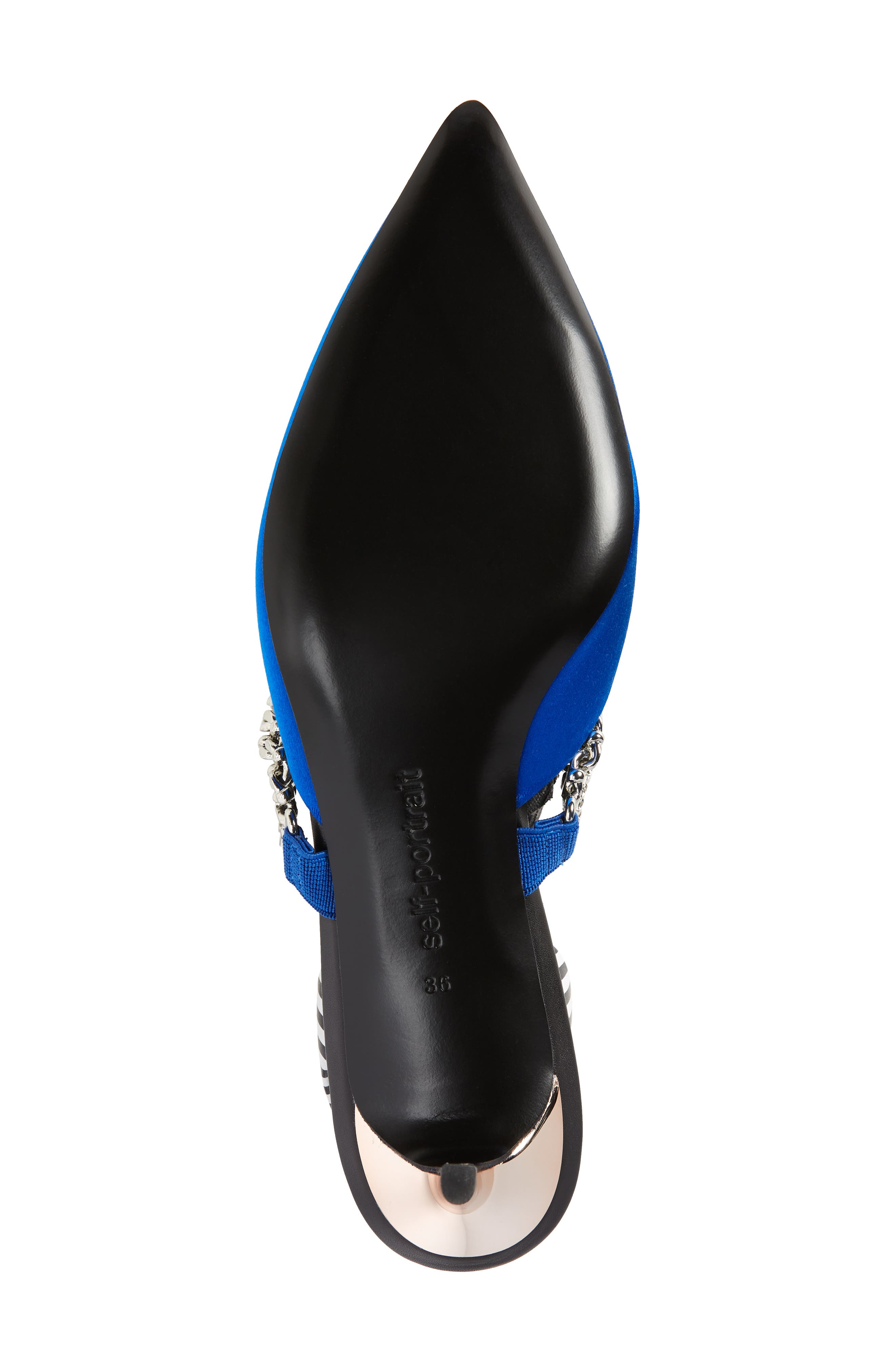 Kitty Chain Embellished Slingback Pump,                             Alternate thumbnail 6, color,                             Bright Blue