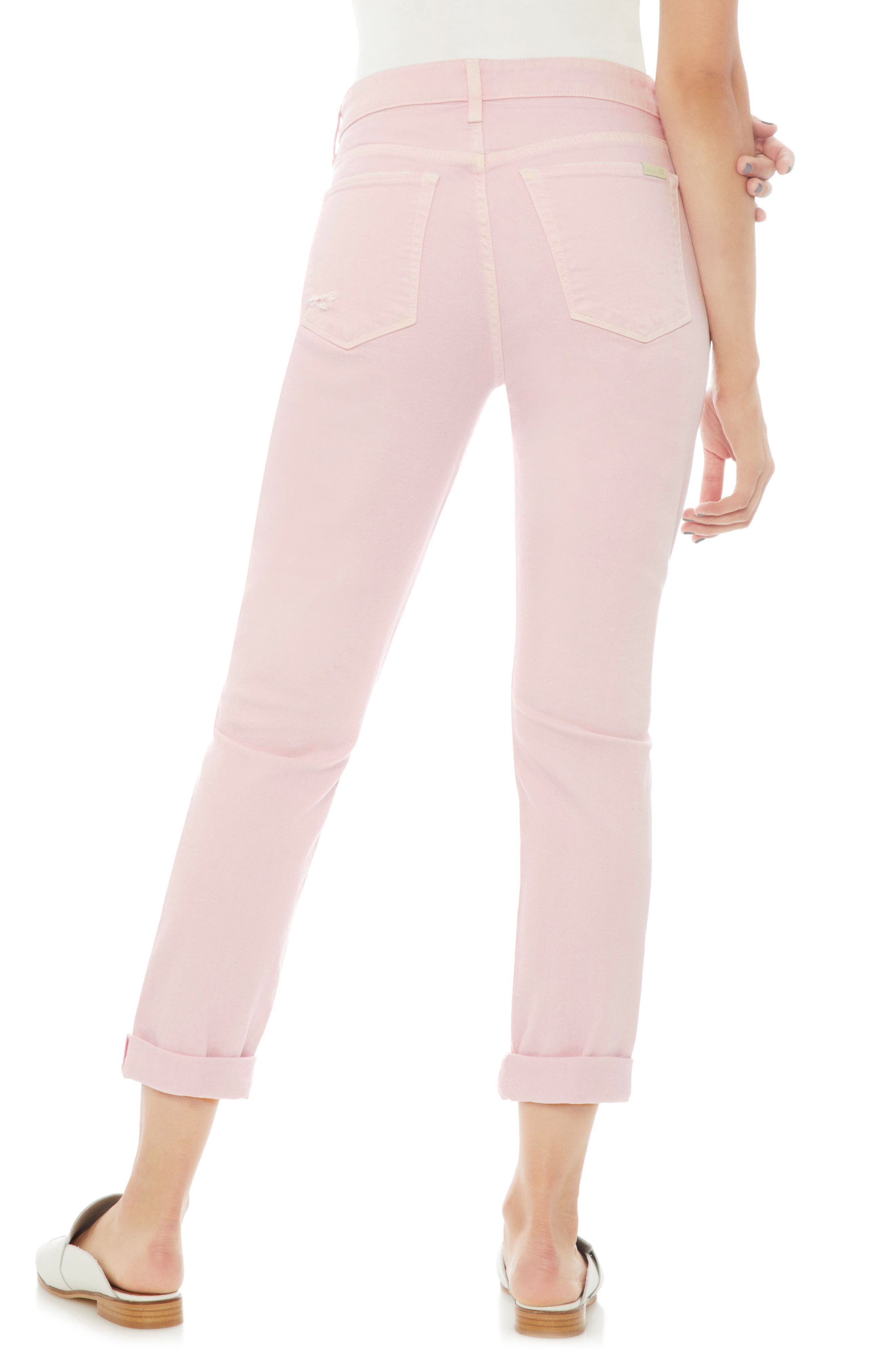 Smith Ripped High Waist Crop Slim Jeans,                             Alternate thumbnail 2, color,                             Parfait Pink