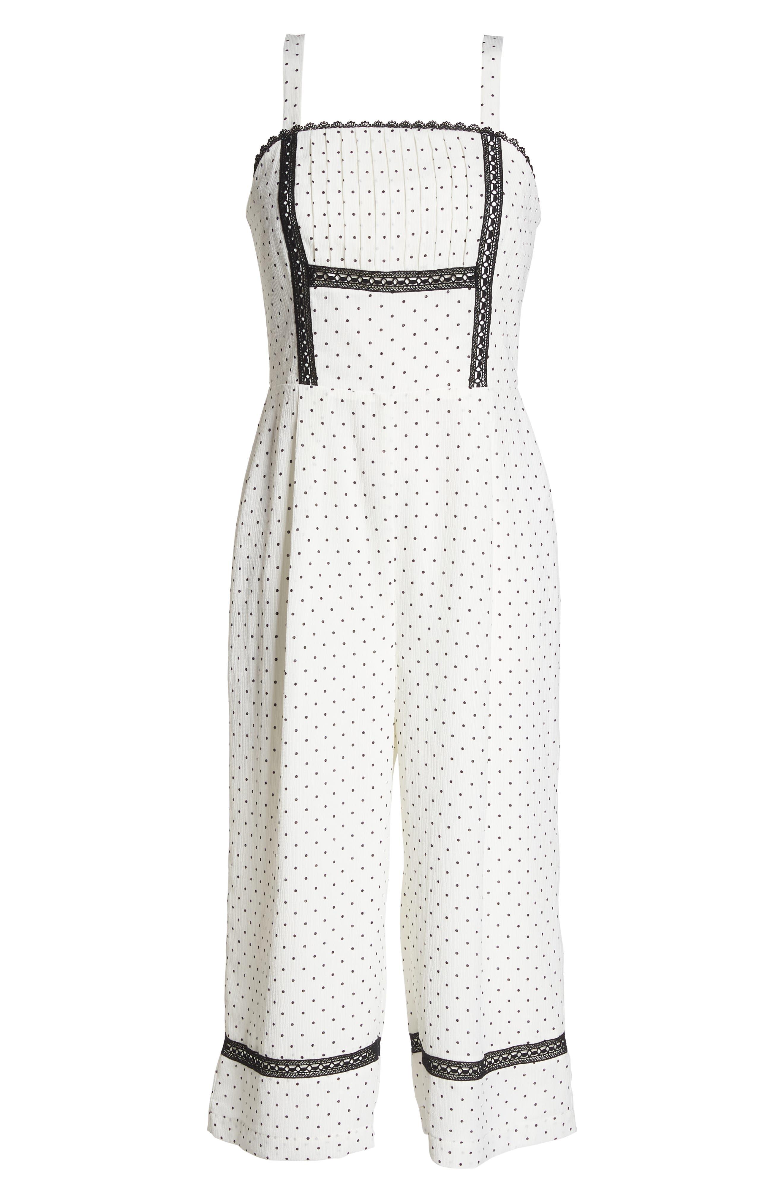 Nadine Polka Dot Culotte Jumpsuit,                             Alternate thumbnail 6, color,                             White/ Black