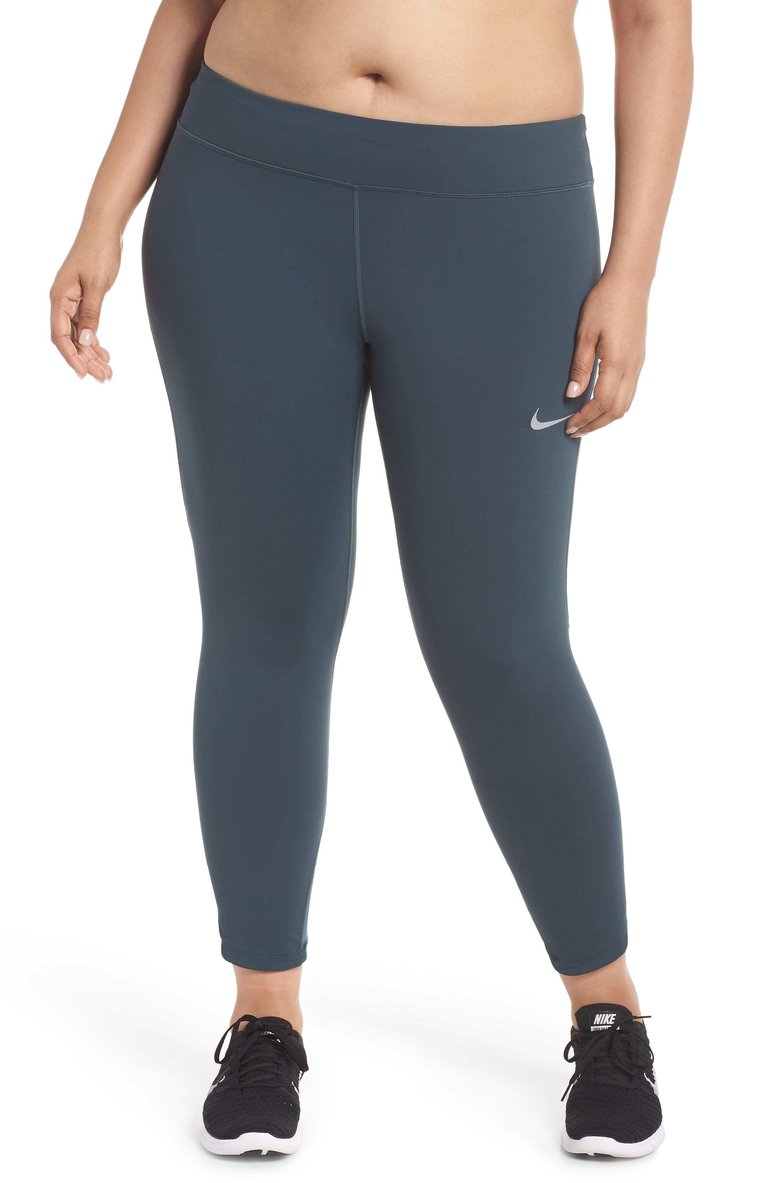 Power Epic Lux Crop Running Tights,                         Main,                         color, Deep Jungle