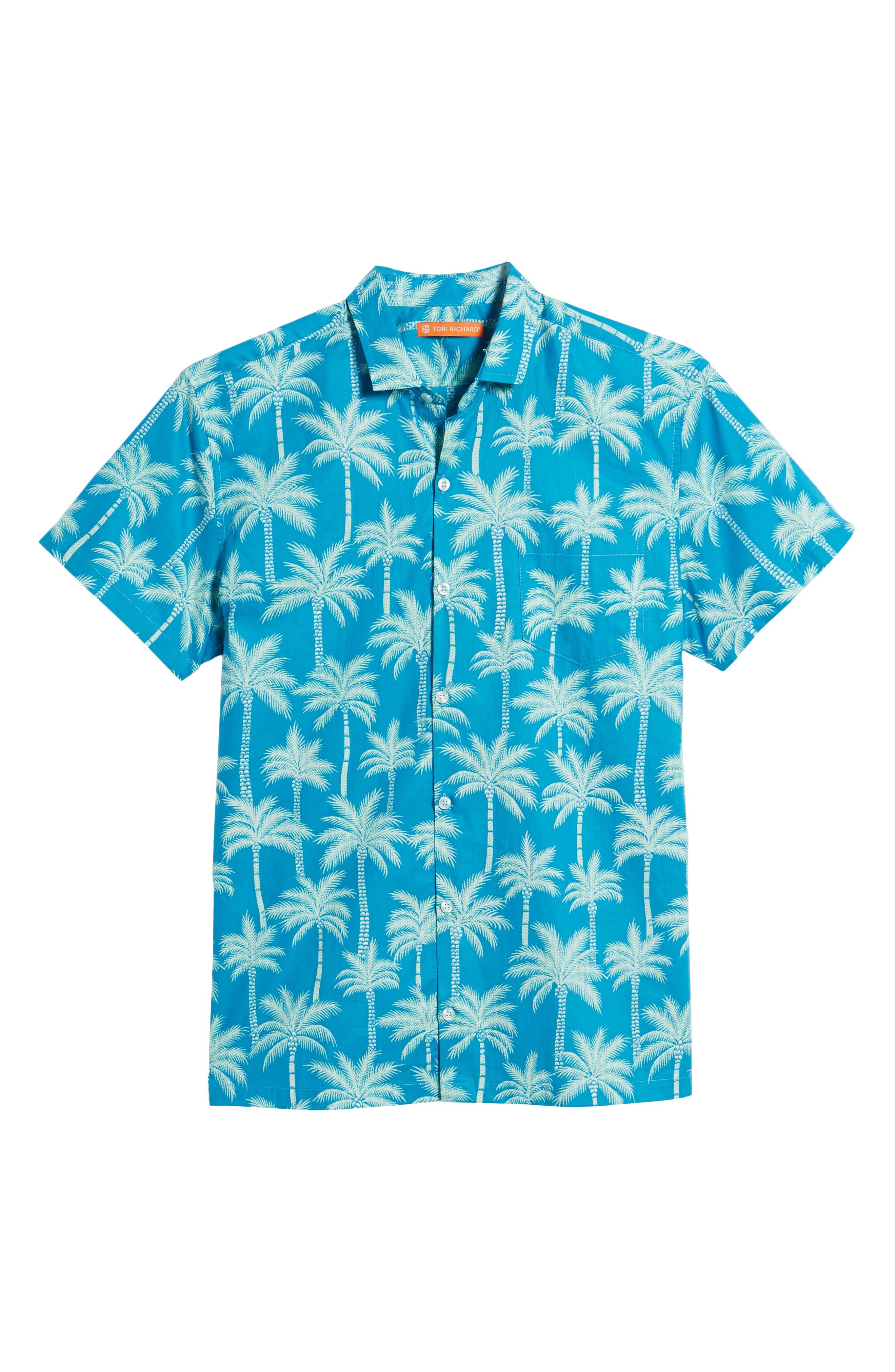 Erté Palm Camp Shirt,                             Alternate thumbnail 6, color,                             Wave