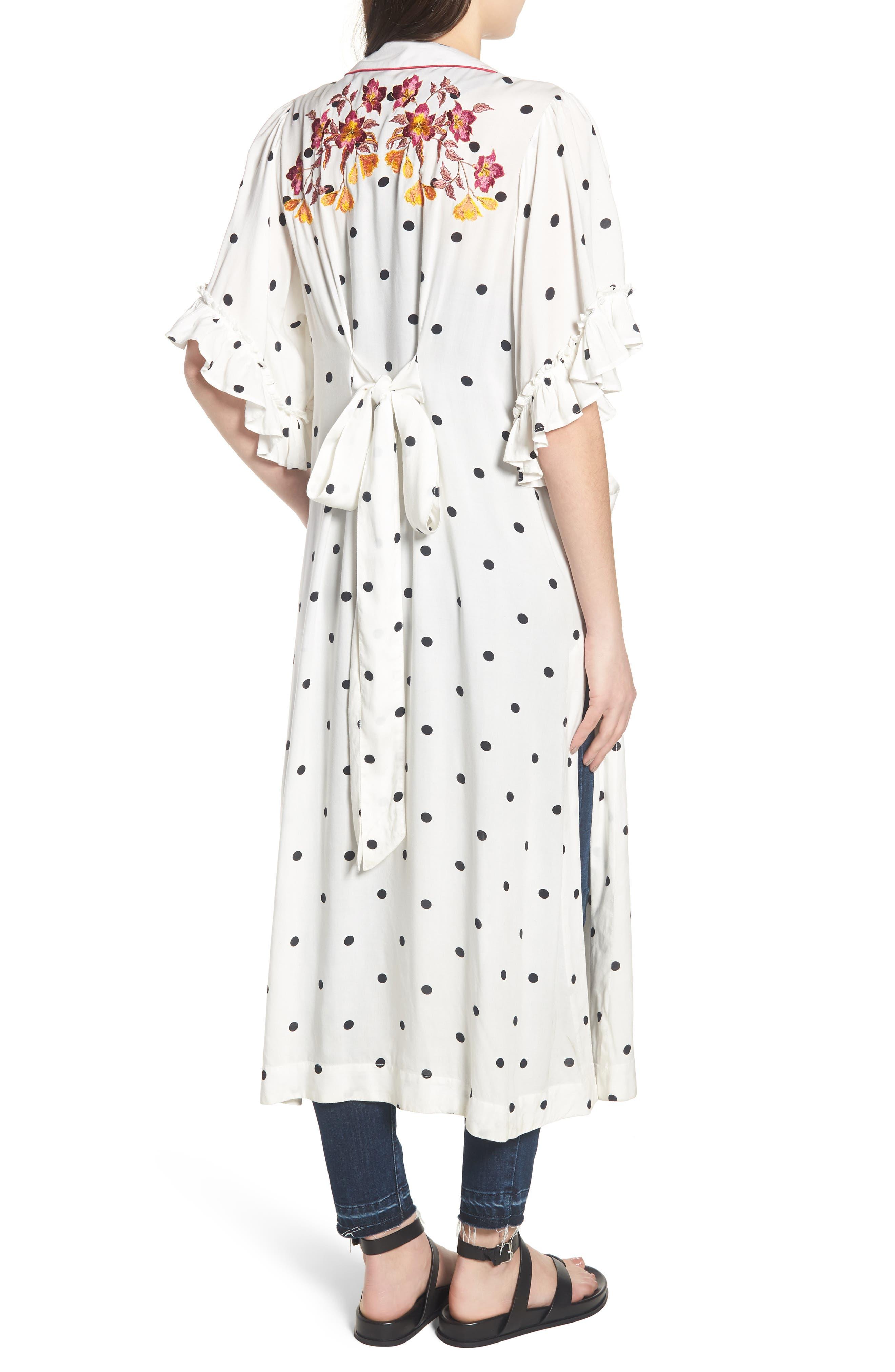 Hot Spot Kimono,                             Alternate thumbnail 2, color,                             Black/ White Polka Dot Print