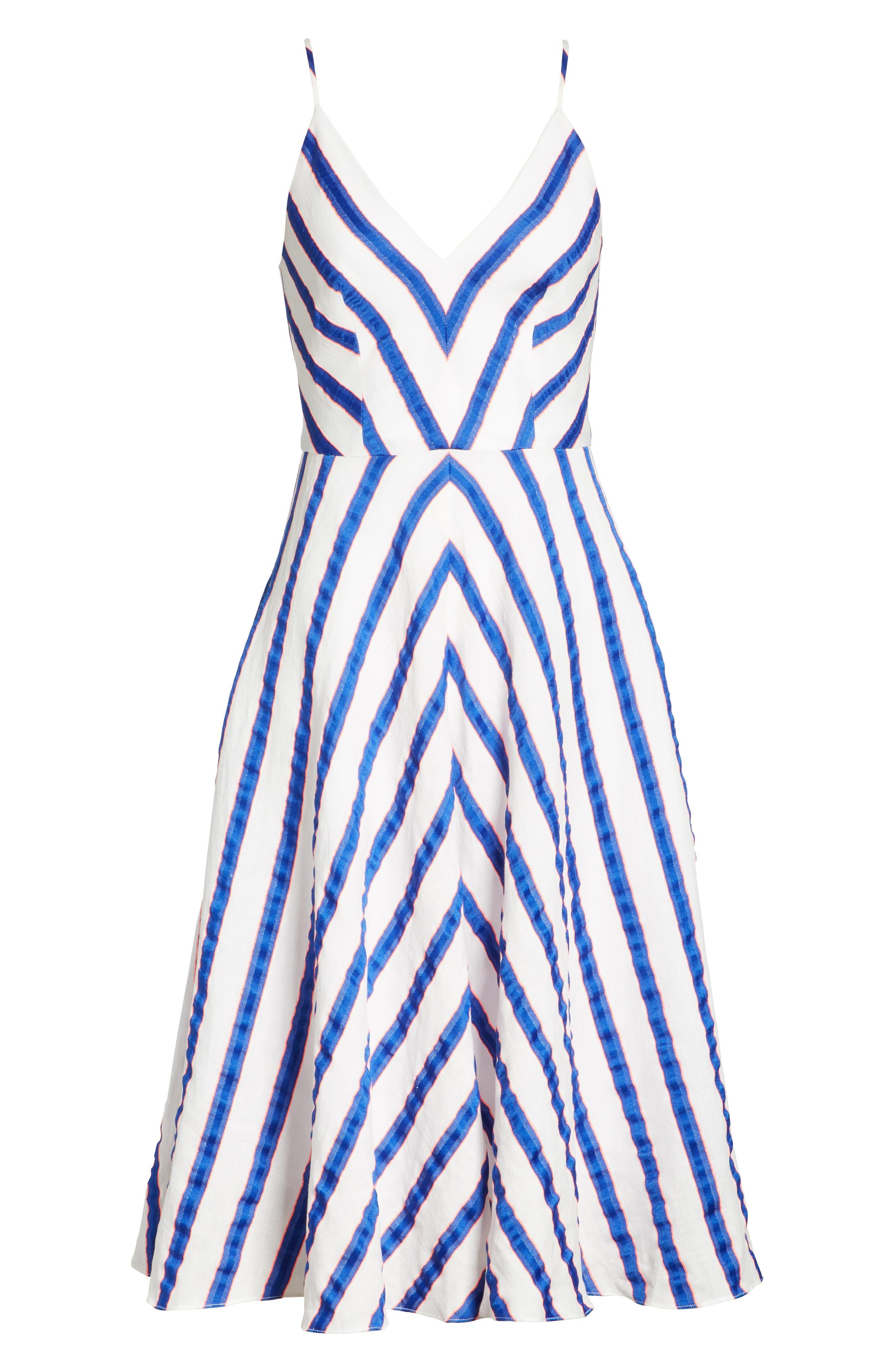 Stripe Washed Linen Blend Sundress,                             Alternate thumbnail 6, color,                             Cobalt