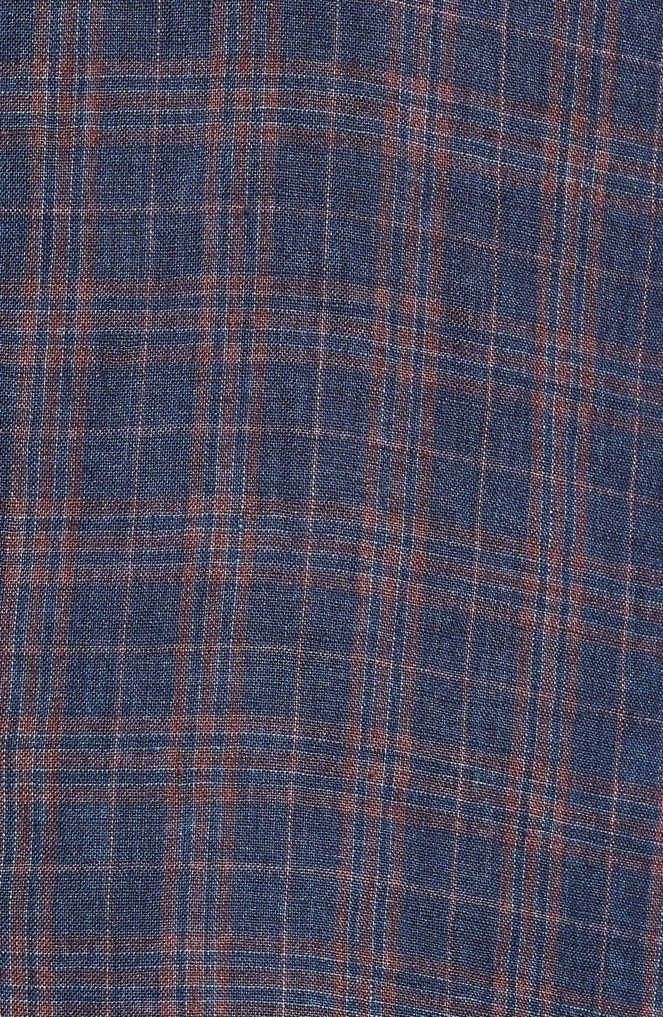 Vanquish Trim Fit Plaid Linen Sport Coat,                             Alternate thumbnail 5, color,                             Navy/ Red