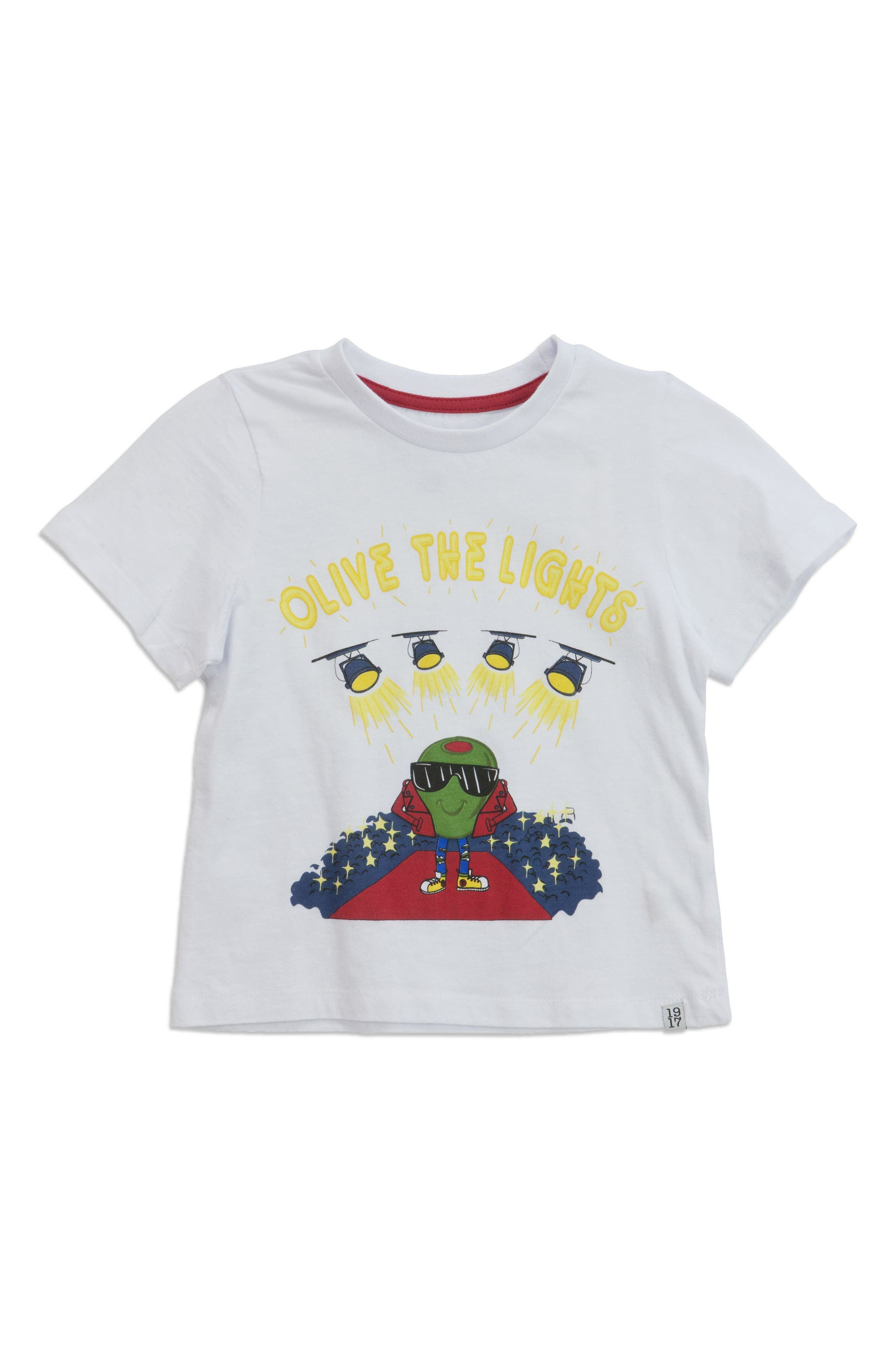 Olive the Lights Graphic T-Shirt,                             Main thumbnail 1, color,                             White