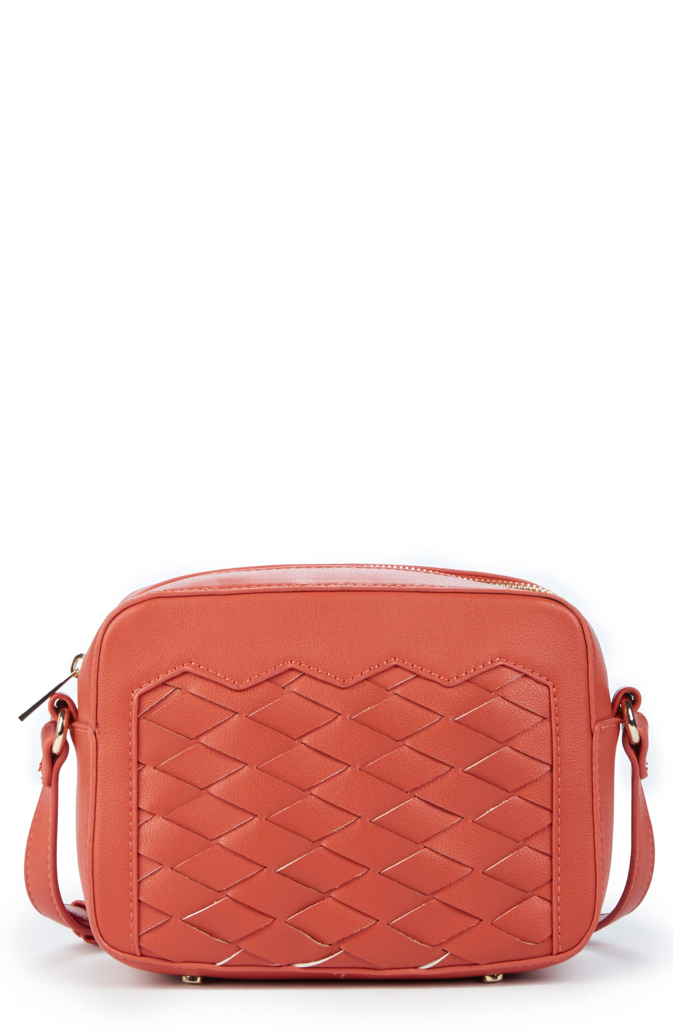 Hand Woven Faux Leather Crossbody Bag,                             Main thumbnail 1, color,                             Coral