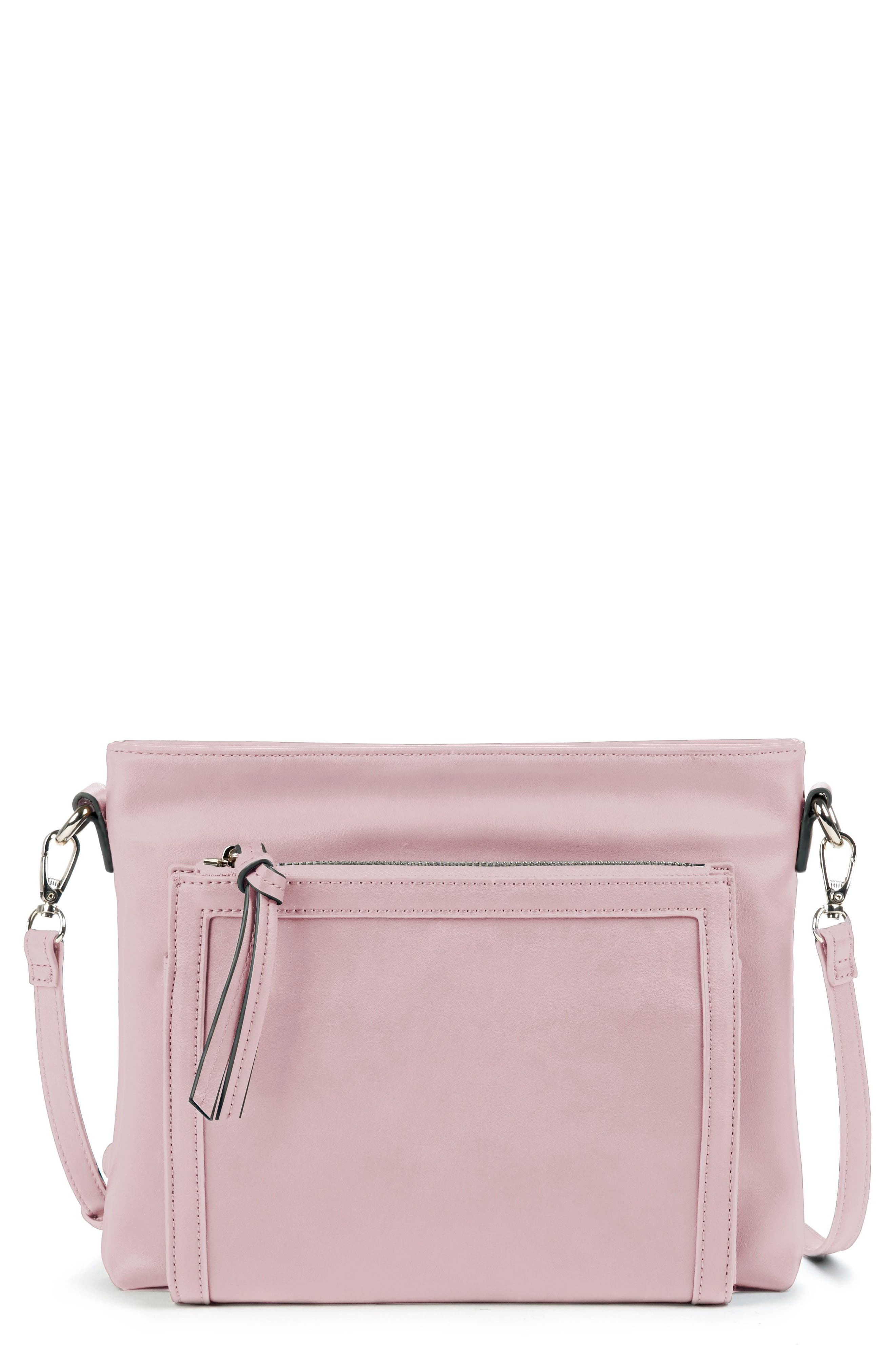 Sole Society Flat Faux Leather Crossbody Bag