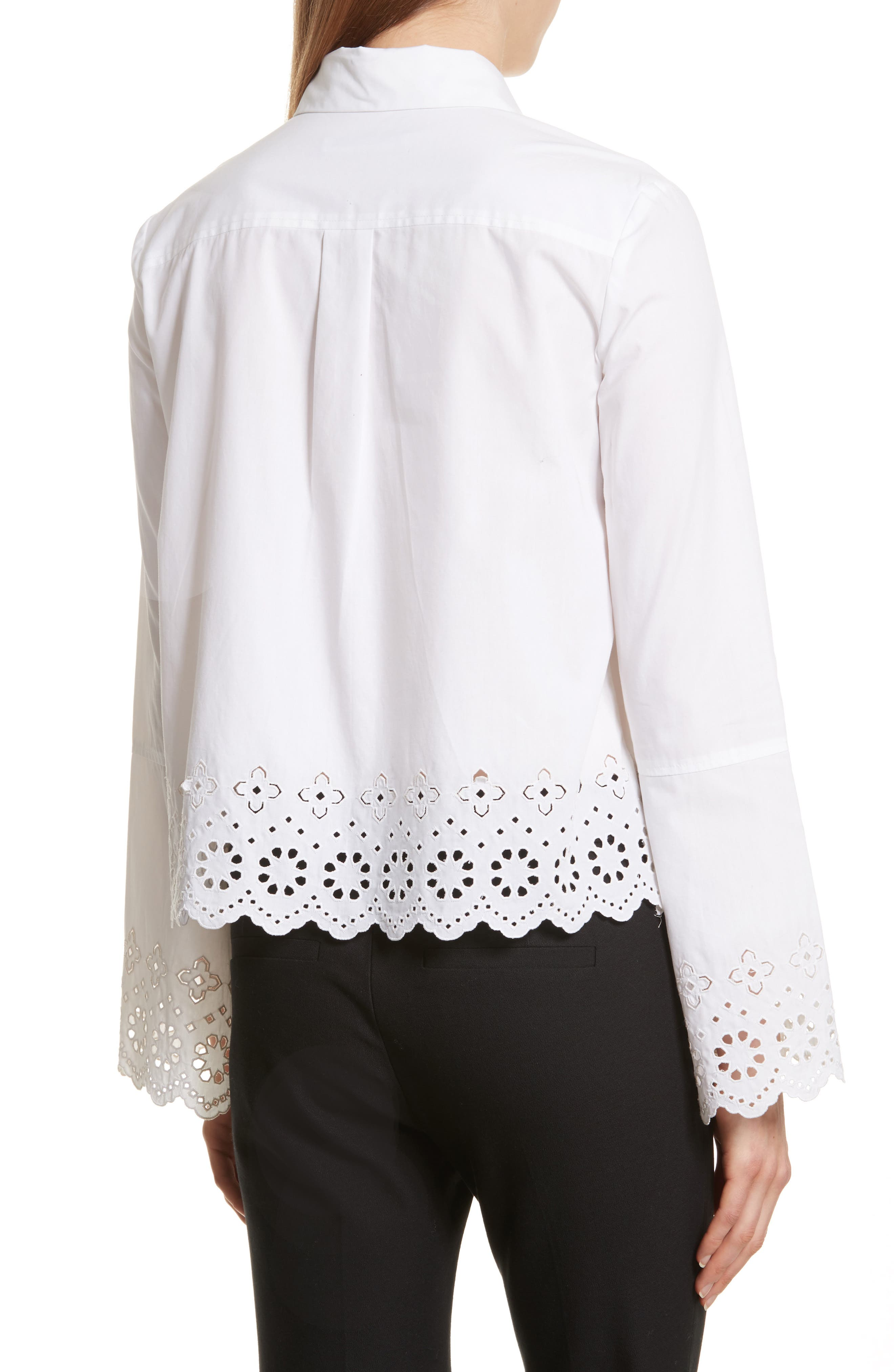 Embroidered Poplin Top,                             Alternate thumbnail 2, color,                             Optic White