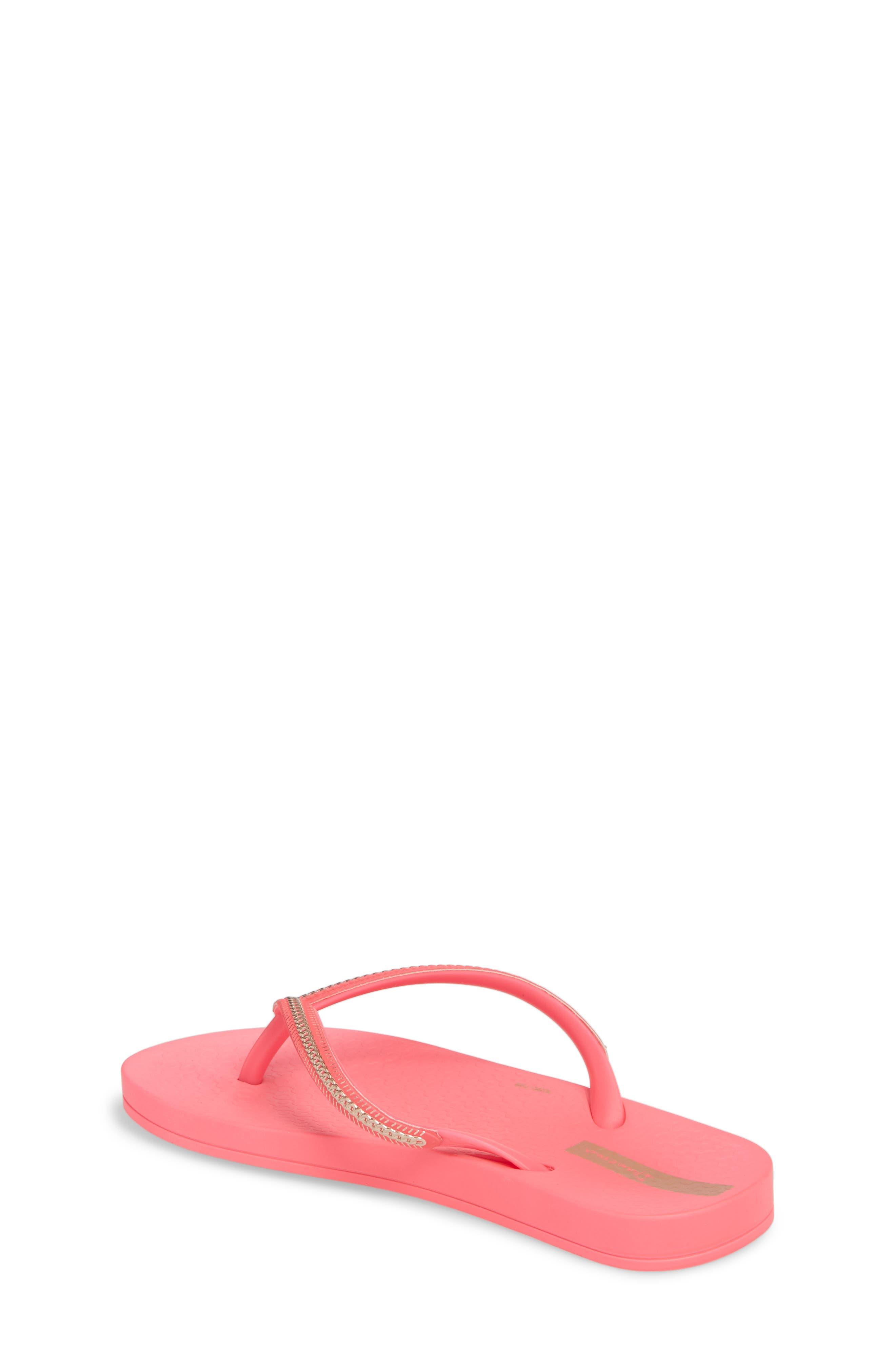 Ana Metallic Flip Flop,                             Alternate thumbnail 2, color,                             Pink Neon/ Rose