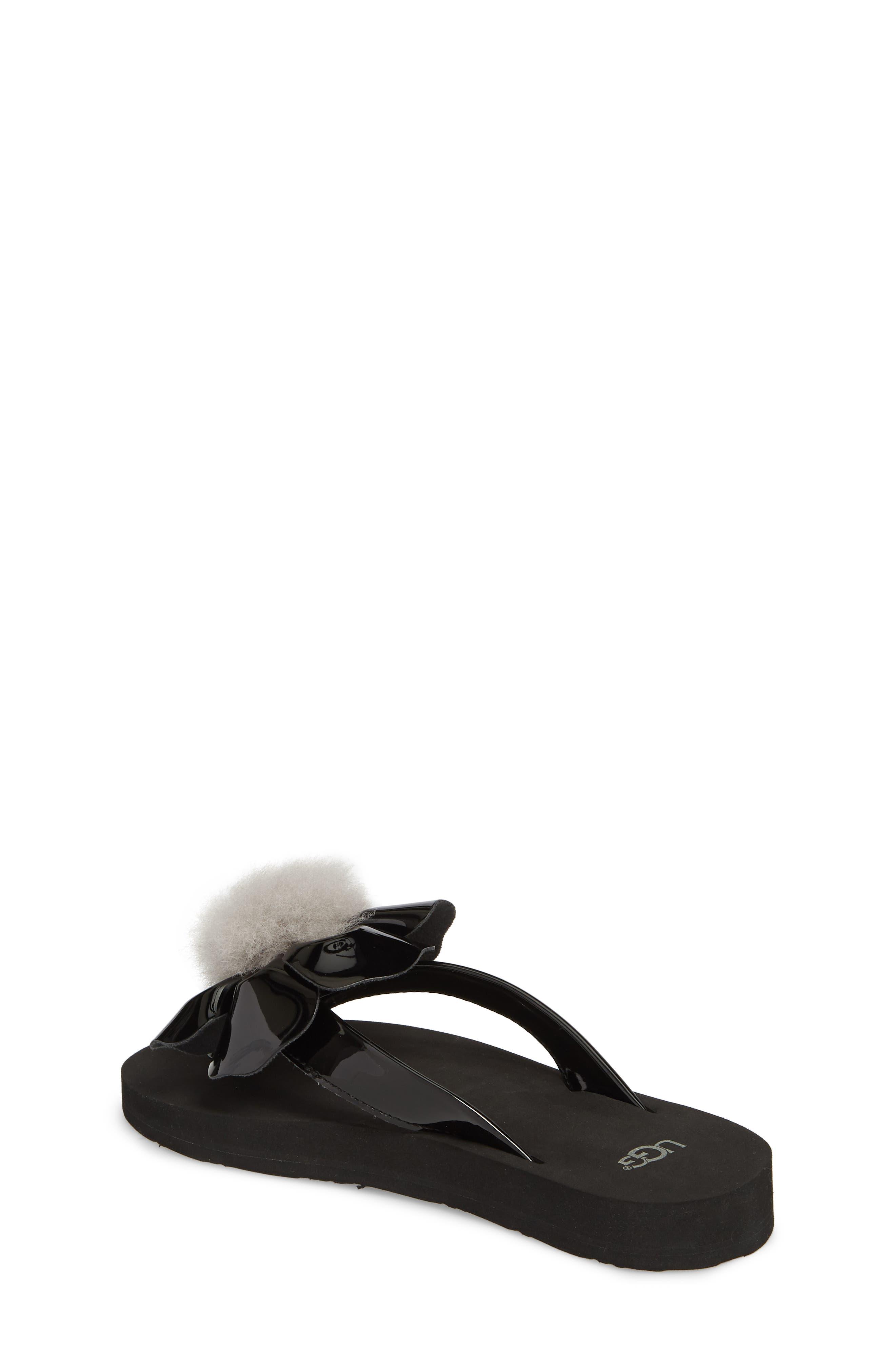Poppy Genuine Shearling Flip Flop,                             Alternate thumbnail 2, color,                             Black