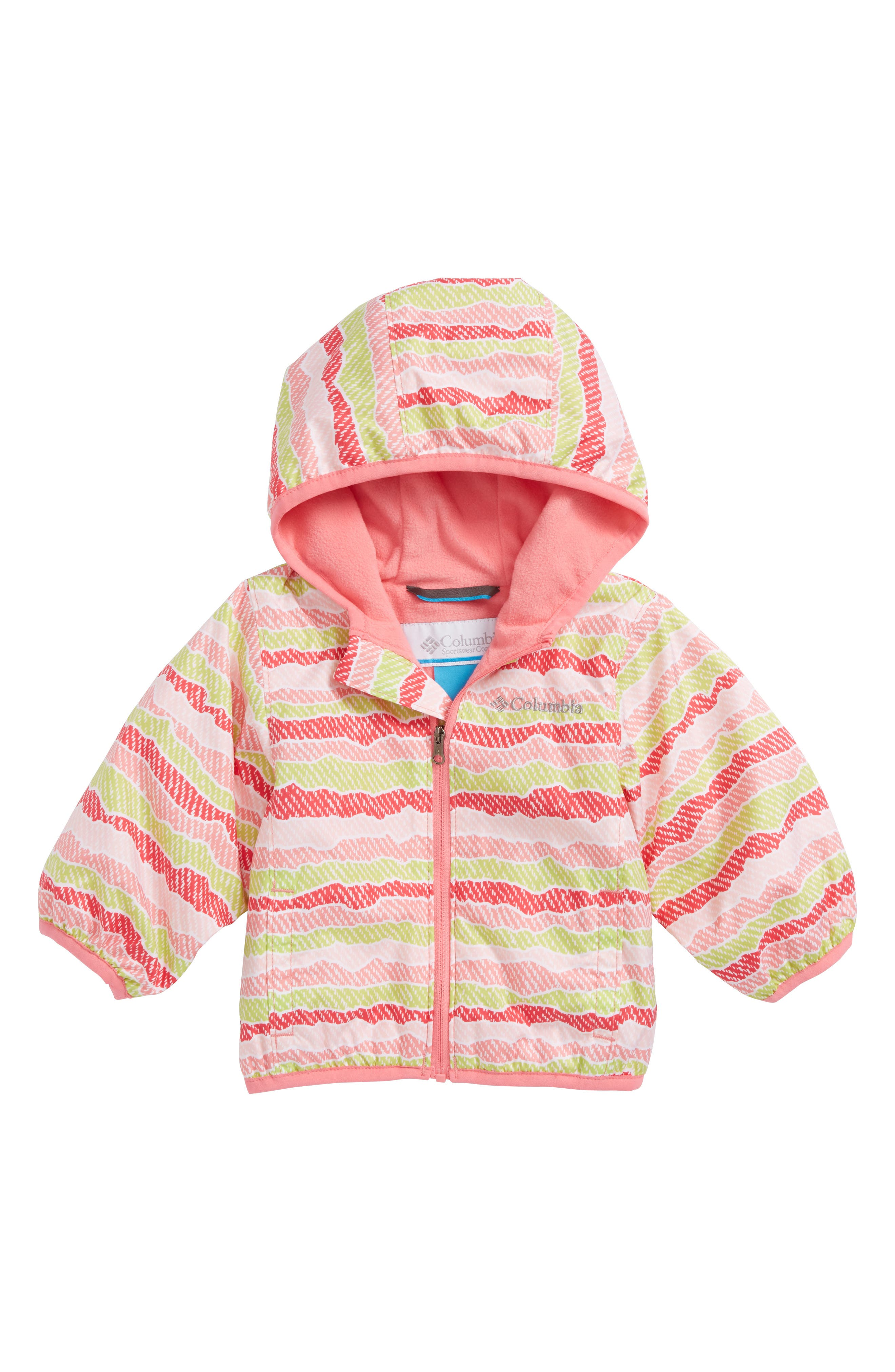 Mini Pixel Grabber<sup>™</sup> II Water Resistant Hooded Jacket,                             Main thumbnail 1, color,                             Lollipop Stripe