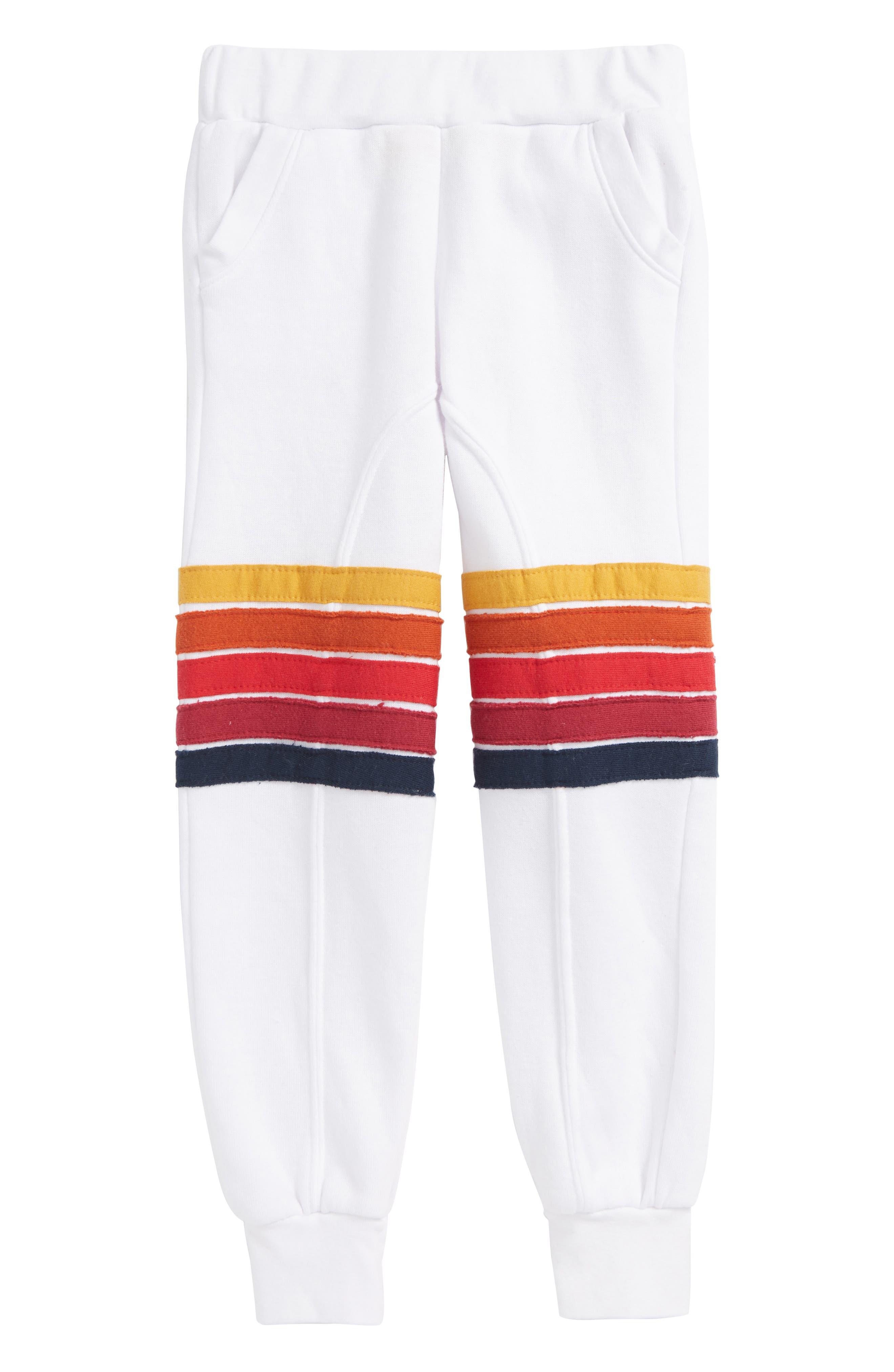 Malibu Stripe Jogger Pants,                         Main,                         color, White