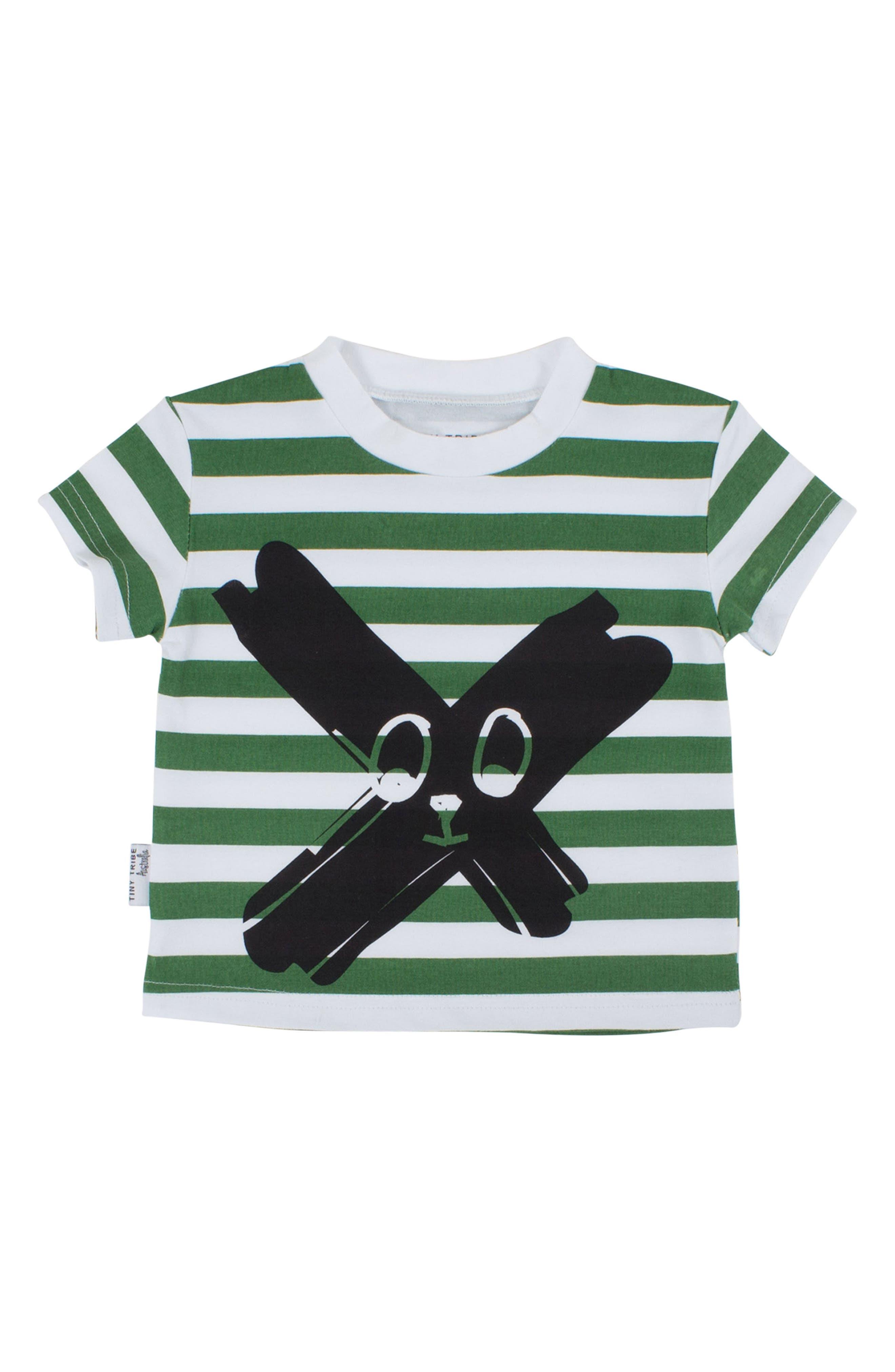 Face Paint Stripe T-Shirt,                         Main,                         color, Green