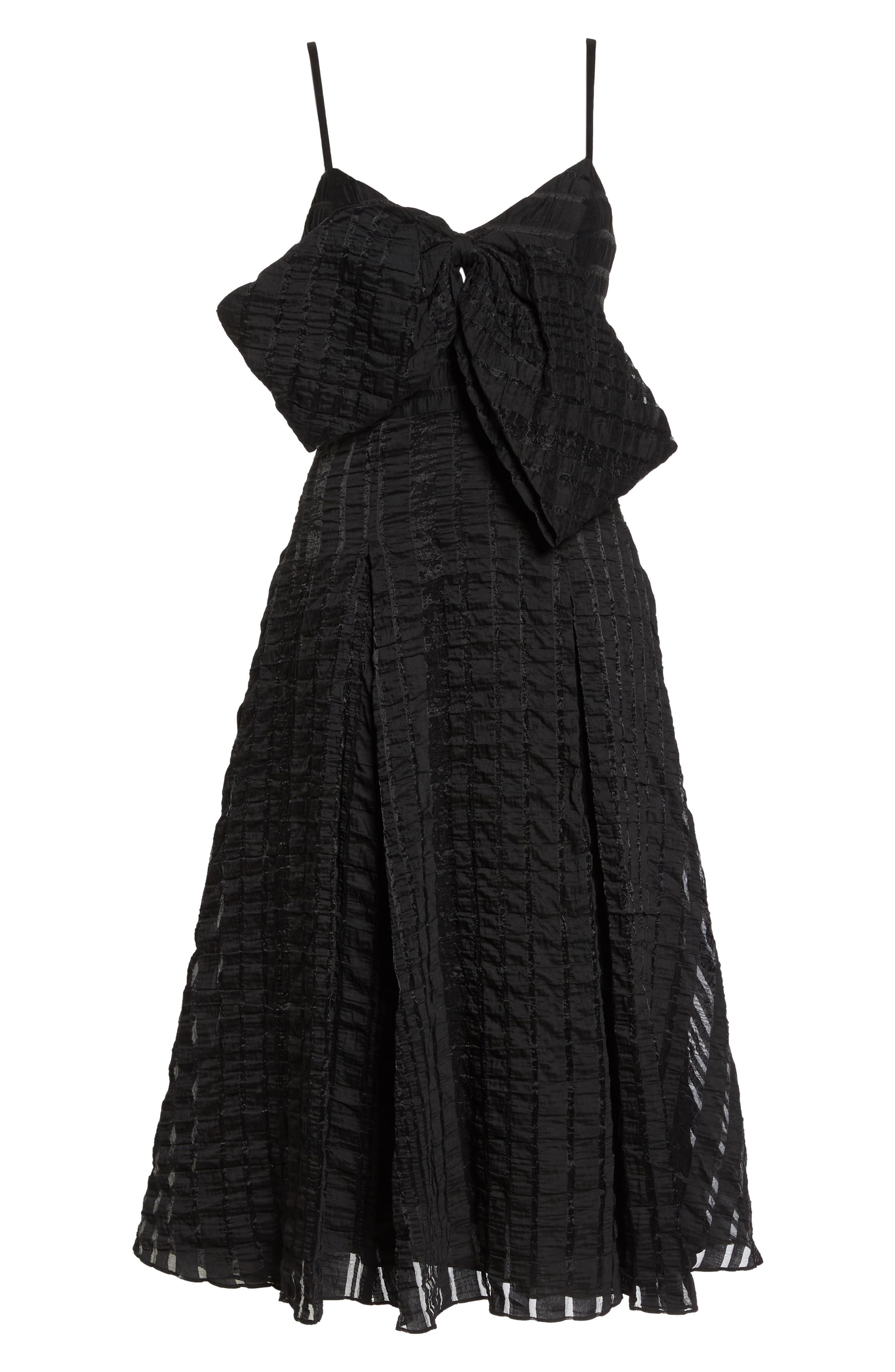 Susie Textured Tea Length Dress,                             Alternate thumbnail 6, color,                             Black
