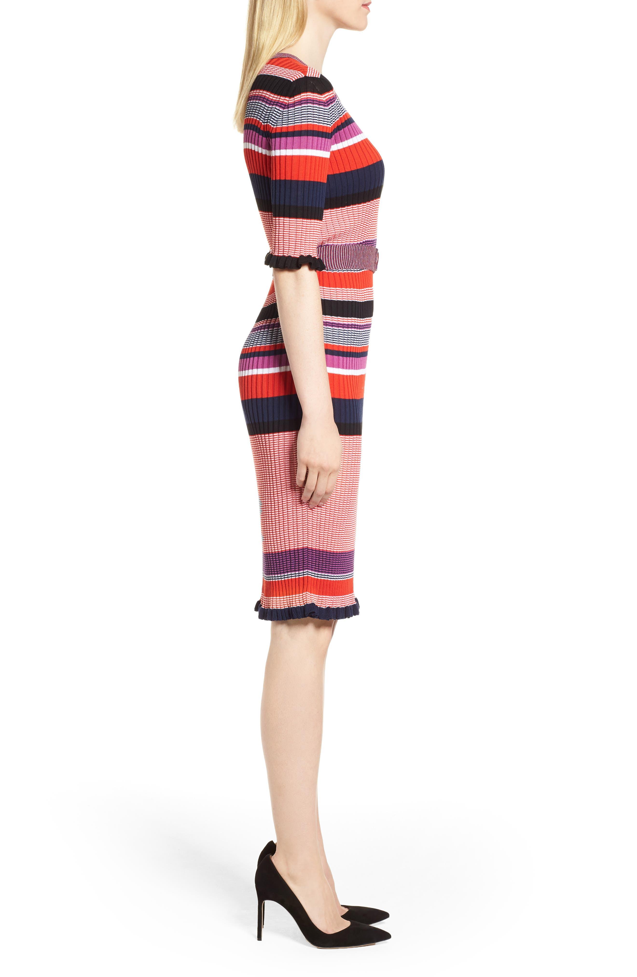 Fantonia Stripe Knit Sheath Dress,                             Alternate thumbnail 3, color,                             Black Fantasy