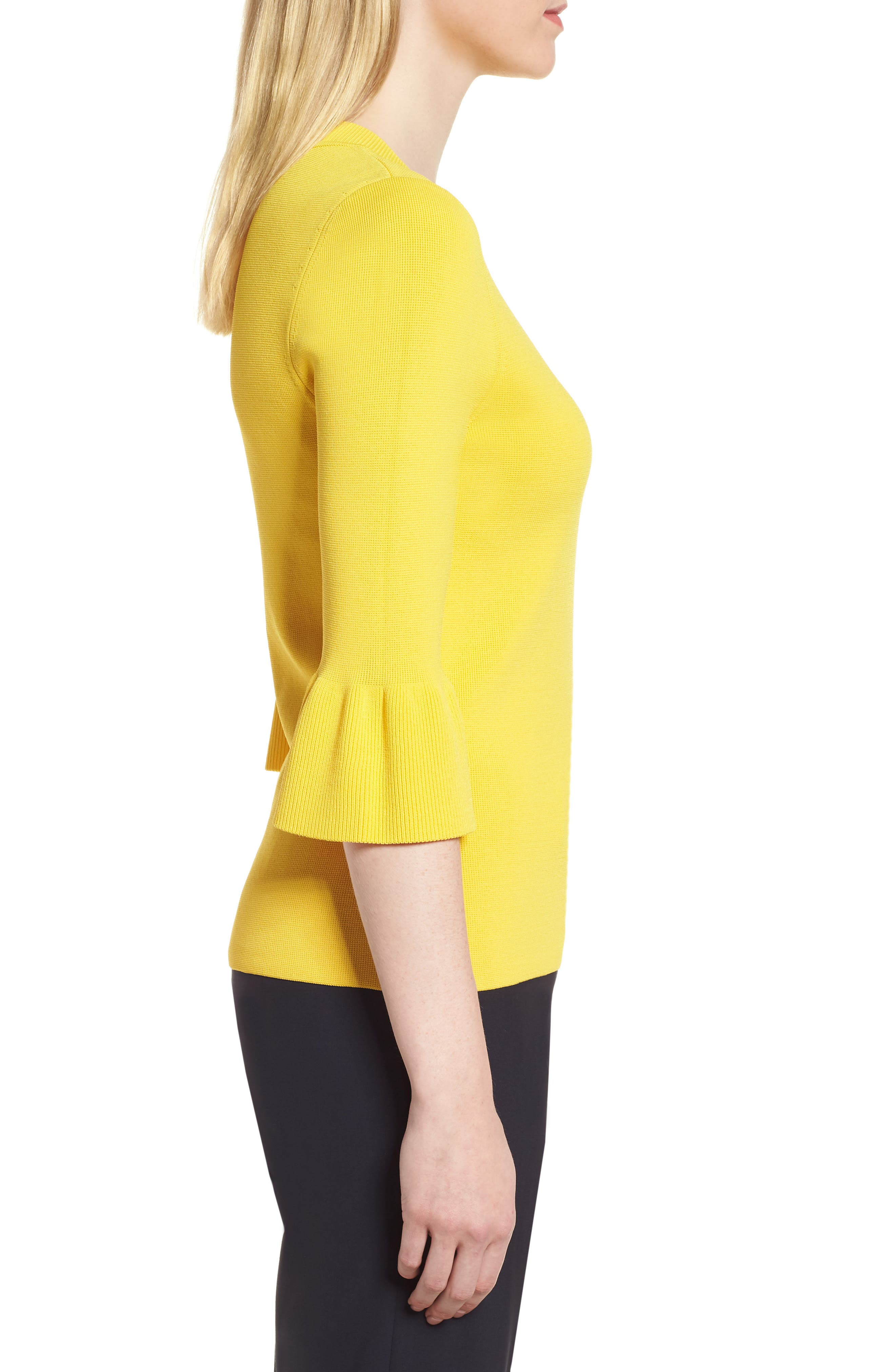 Fenella Ruffle Sleeve Sweater,                             Alternate thumbnail 3, color,                             Sun Yellow
