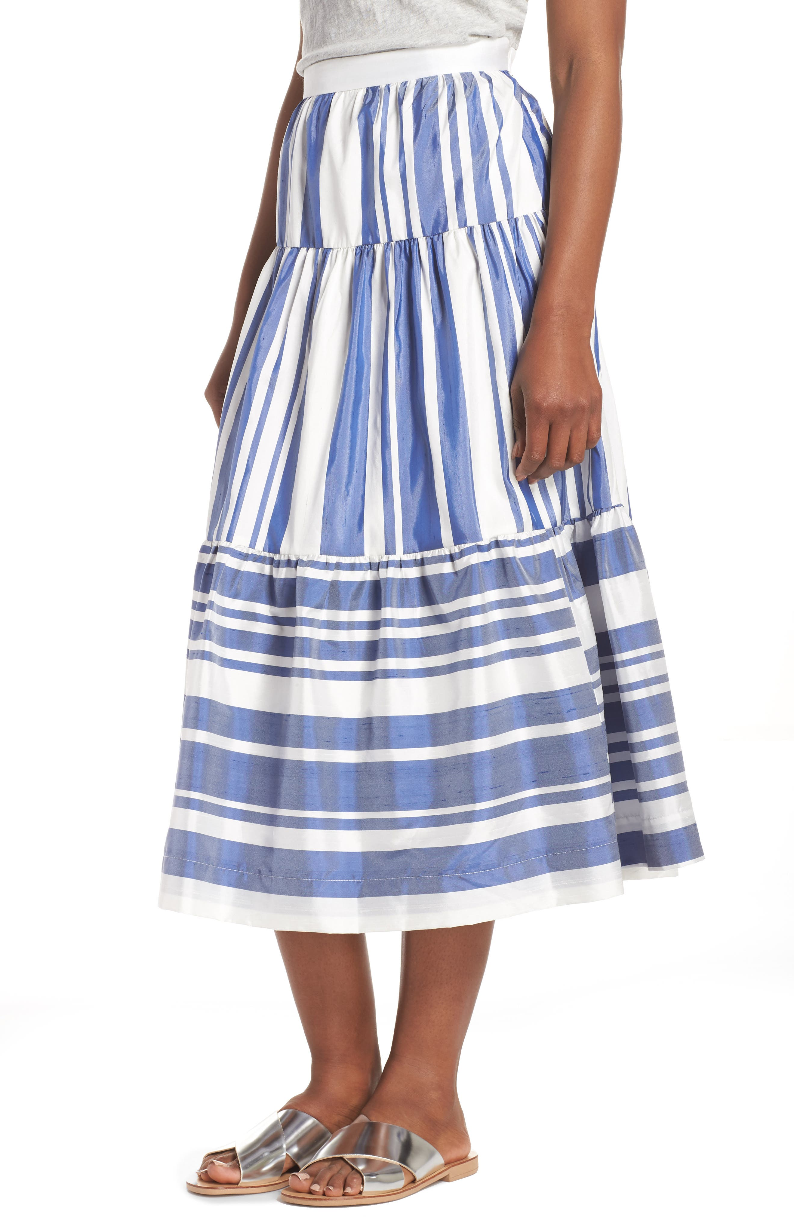 J.Crew Stripe Shantung Skirt