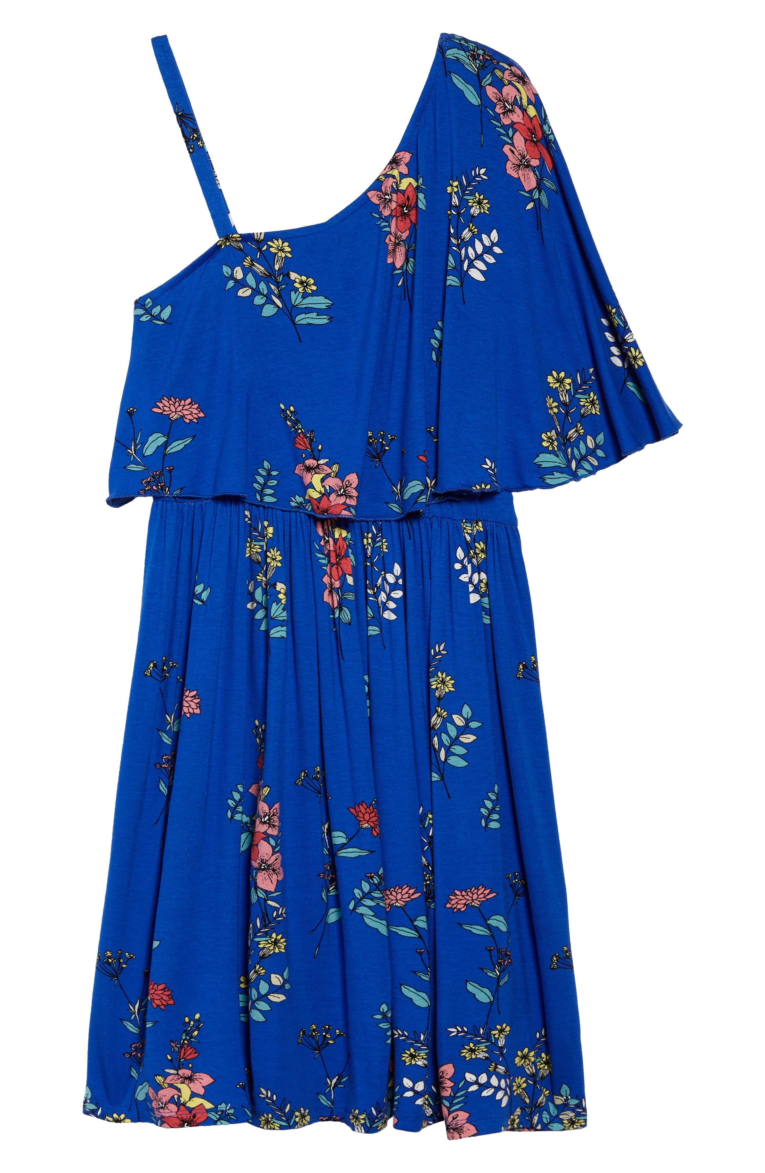One-Shoulder Ruffle Dress,                         Main,                         color, Royal/ Multi