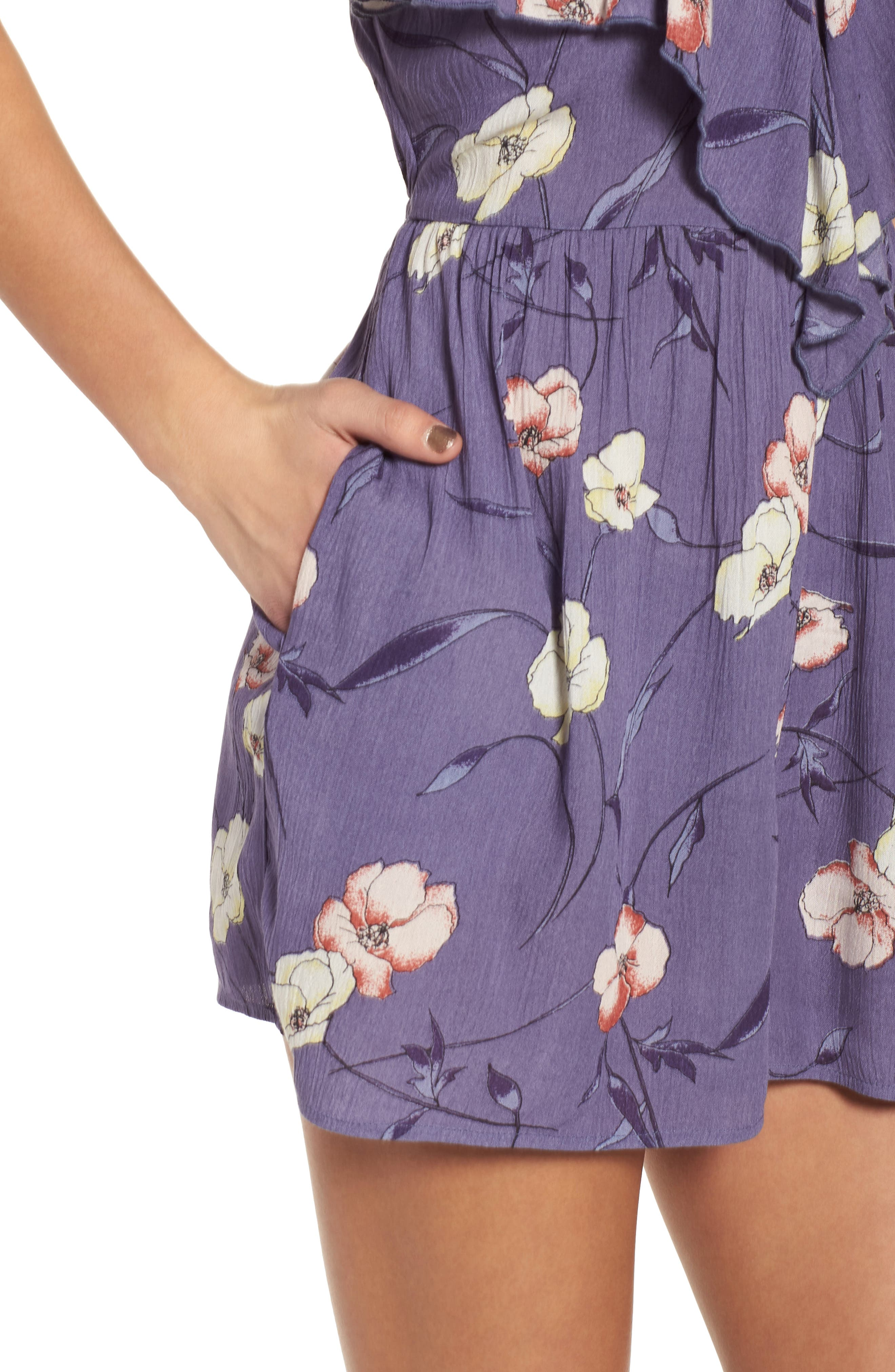 Floral Print Ruffle Front Romper,                             Alternate thumbnail 6, color,                             Indigo Blue