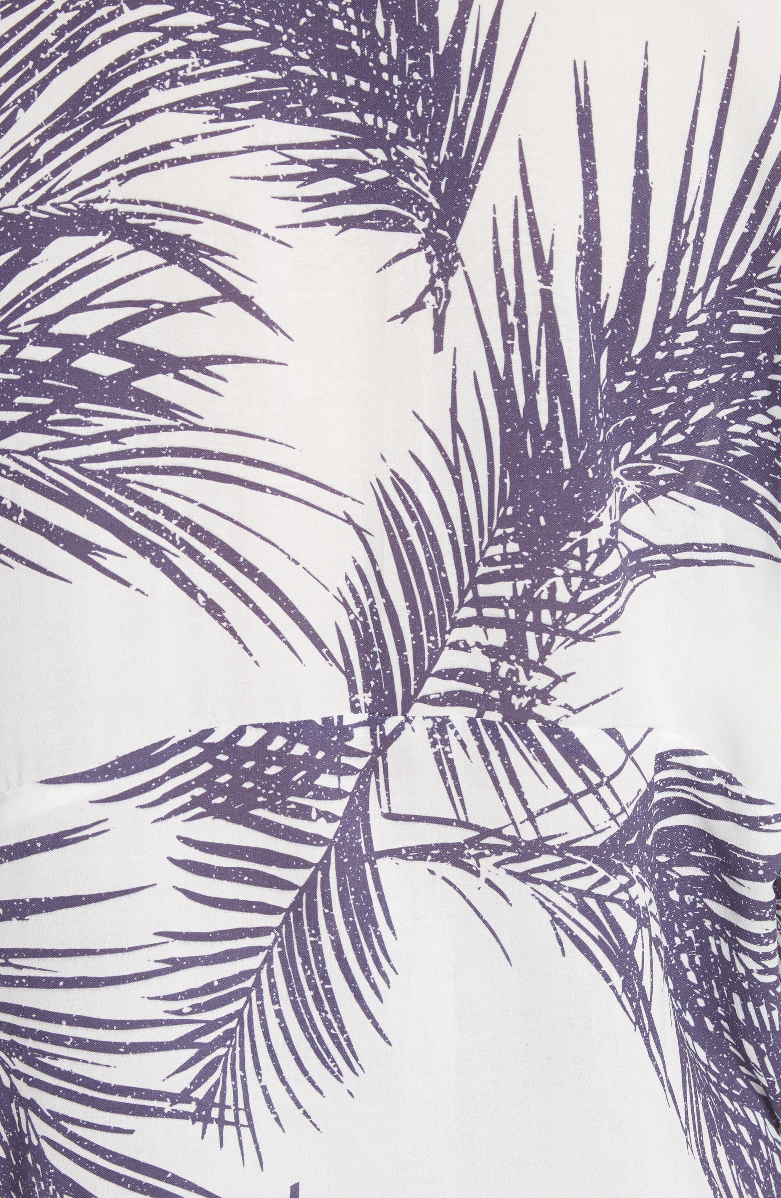 Palm Print Island Shirt,                             Alternate thumbnail 6, color,                             White/ Dark Purple