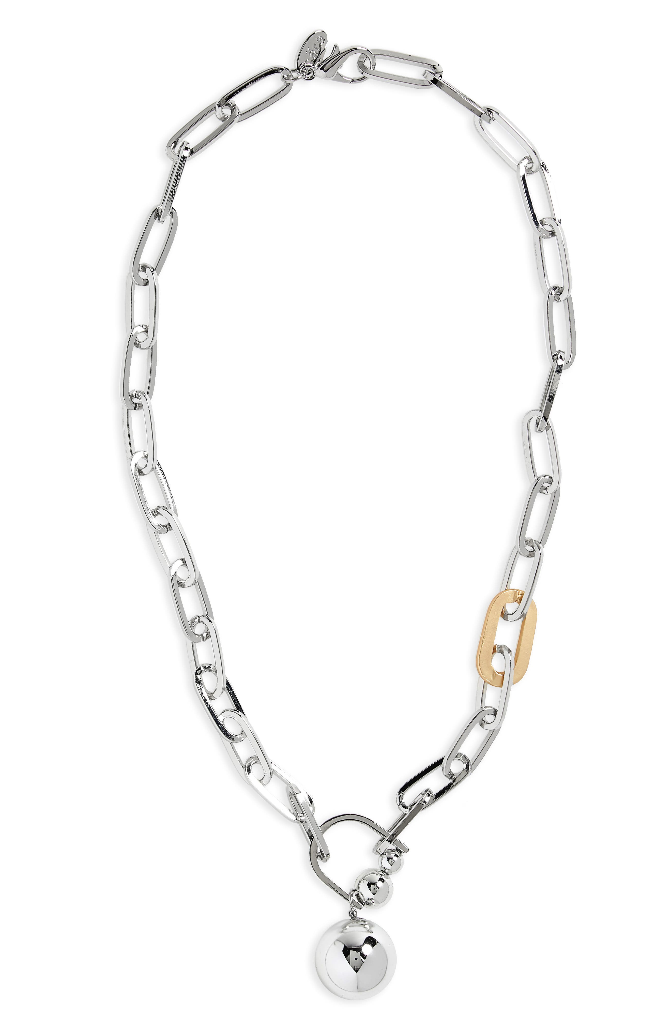 Chain Link Necklace,                         Main,                         color, Silver