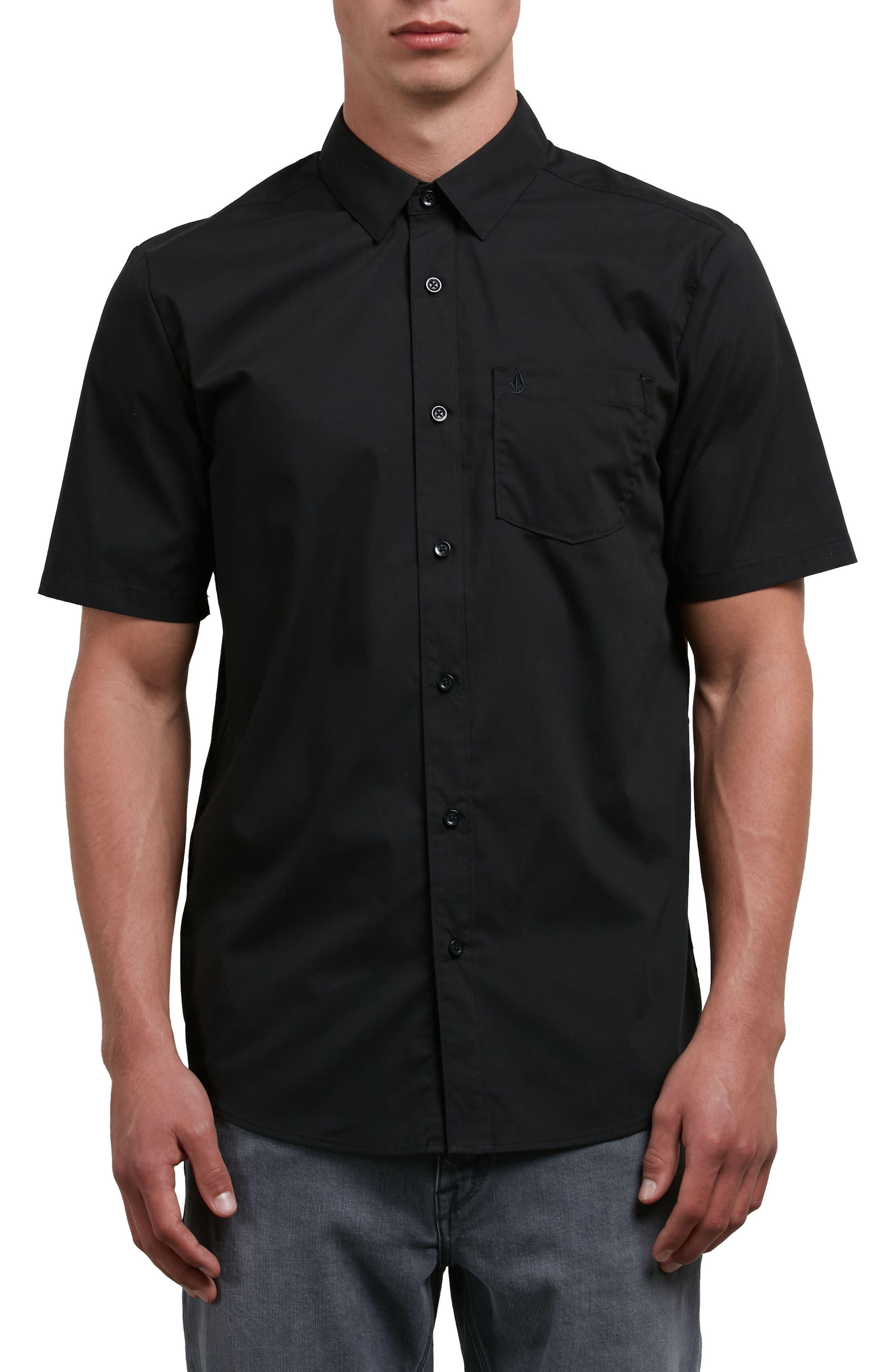 Everett Woven Shirt,                         Main,                         color, Black