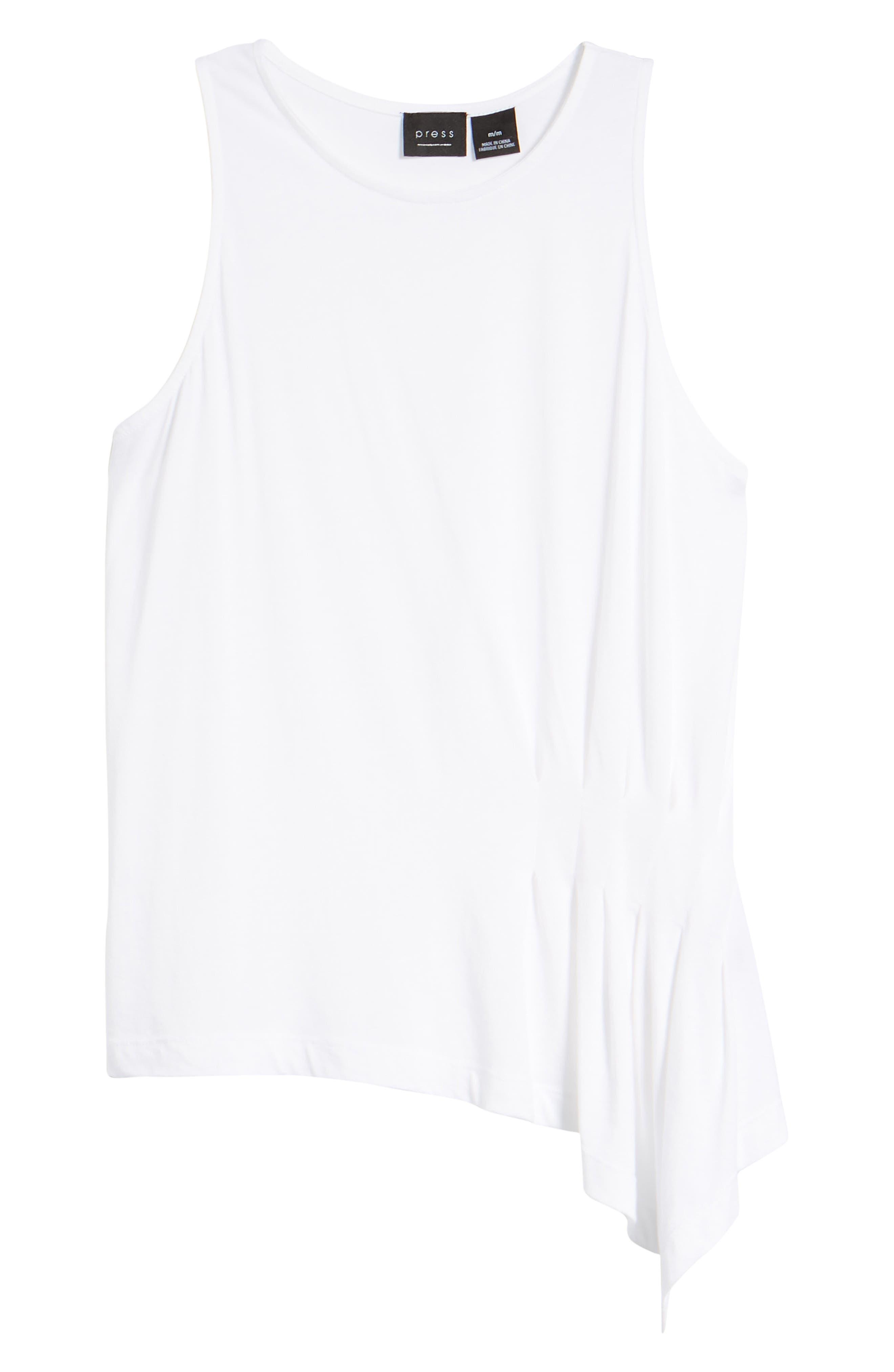 Asymmetrical Hem Pleat Tank Top,                             Alternate thumbnail 7, color,                             White