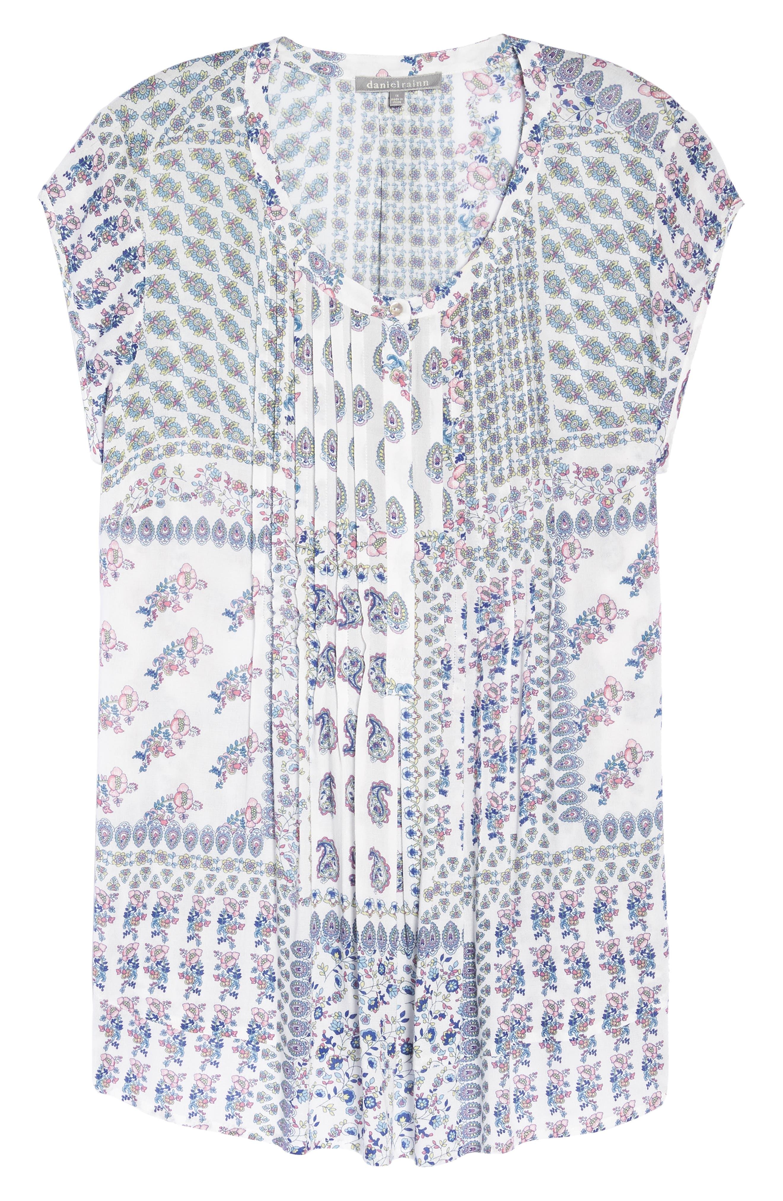 Floral Stripe Cap Sleeve Top,                             Alternate thumbnail 7, color,                             D924n Ivory