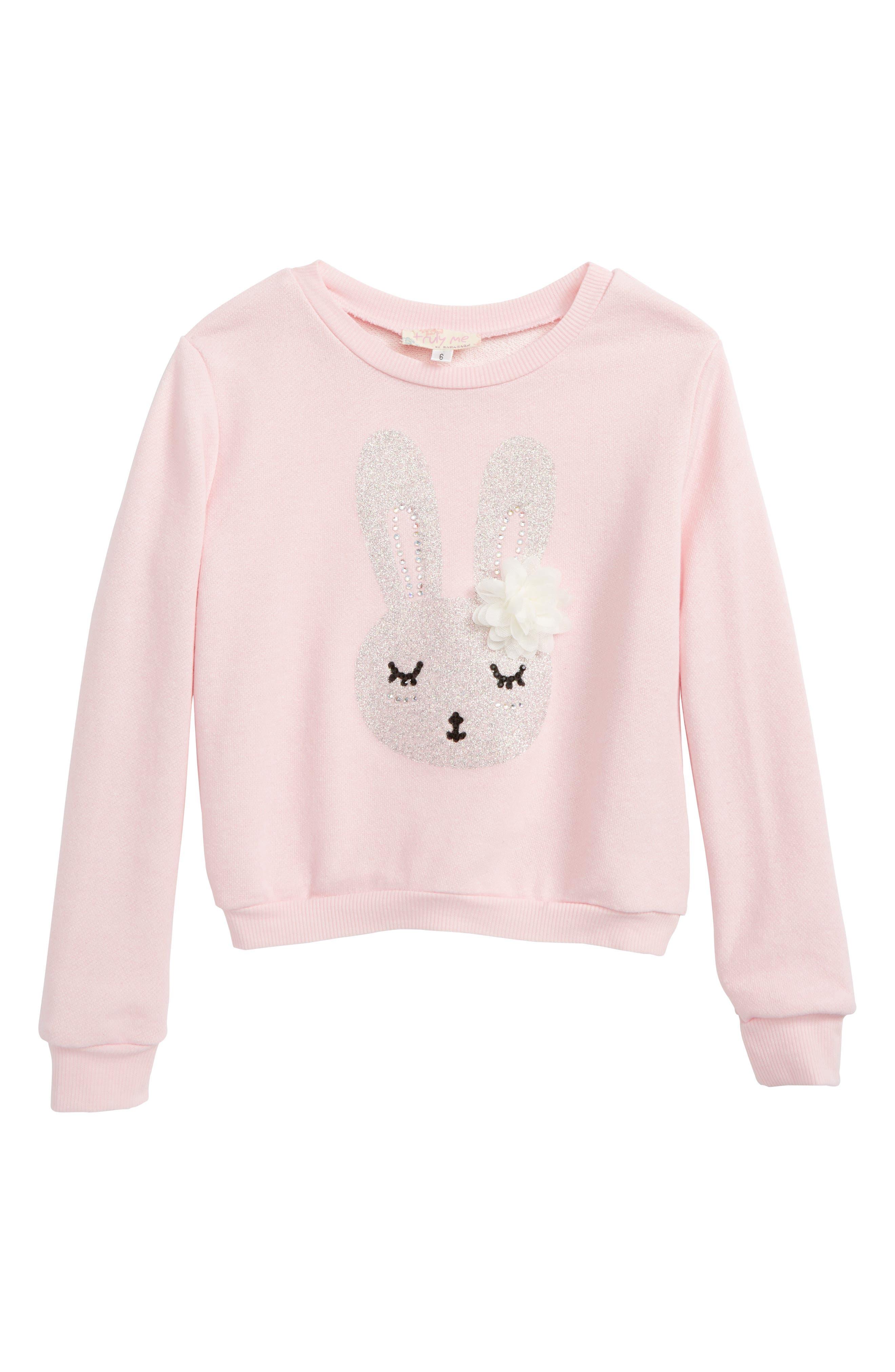 Bunny Graphic Sweatshirt,                         Main,                         color, Pink