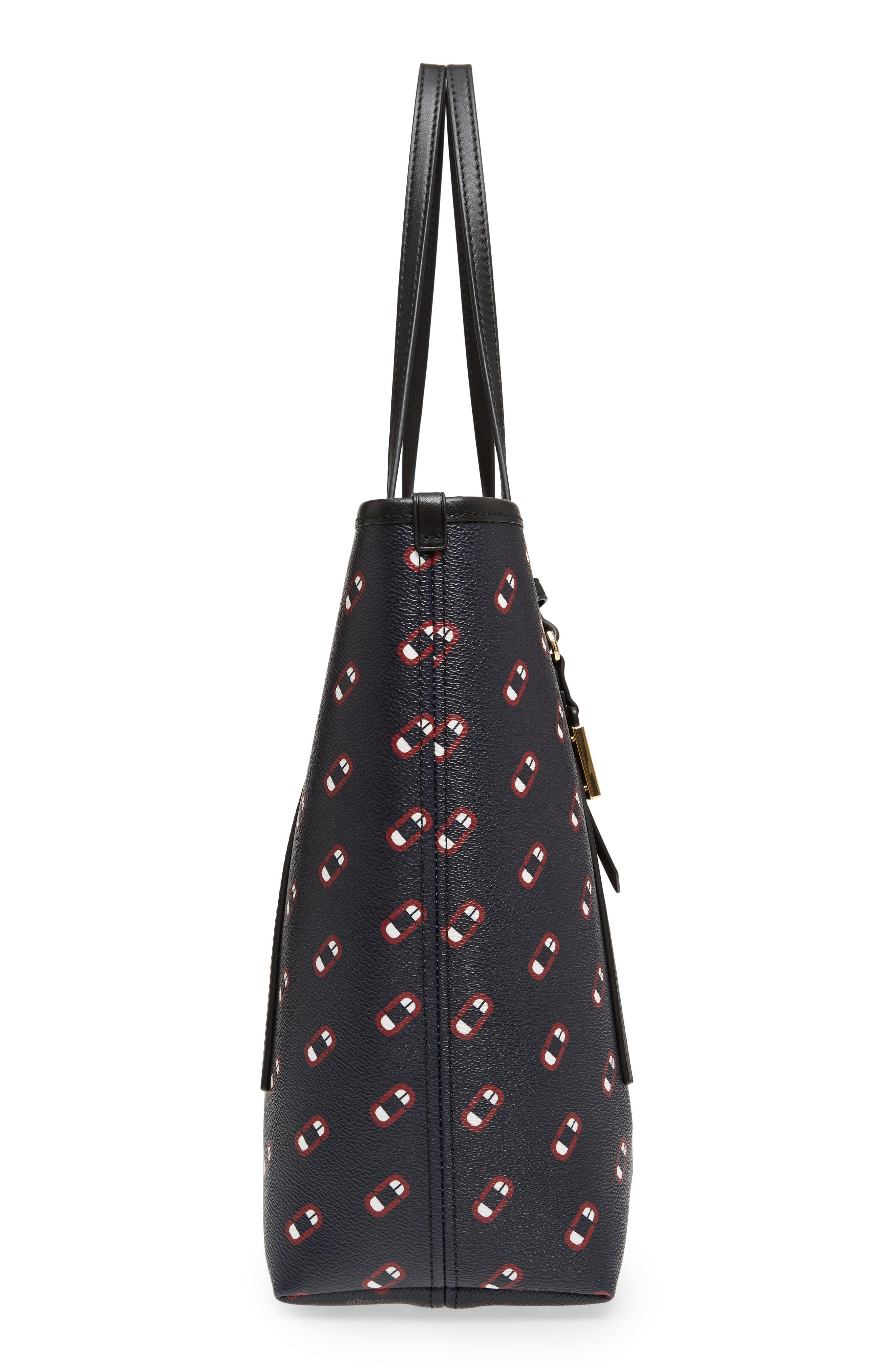 Logo Scream Faux Leather Tote,                             Alternate thumbnail 5, color,                             Navy Multi