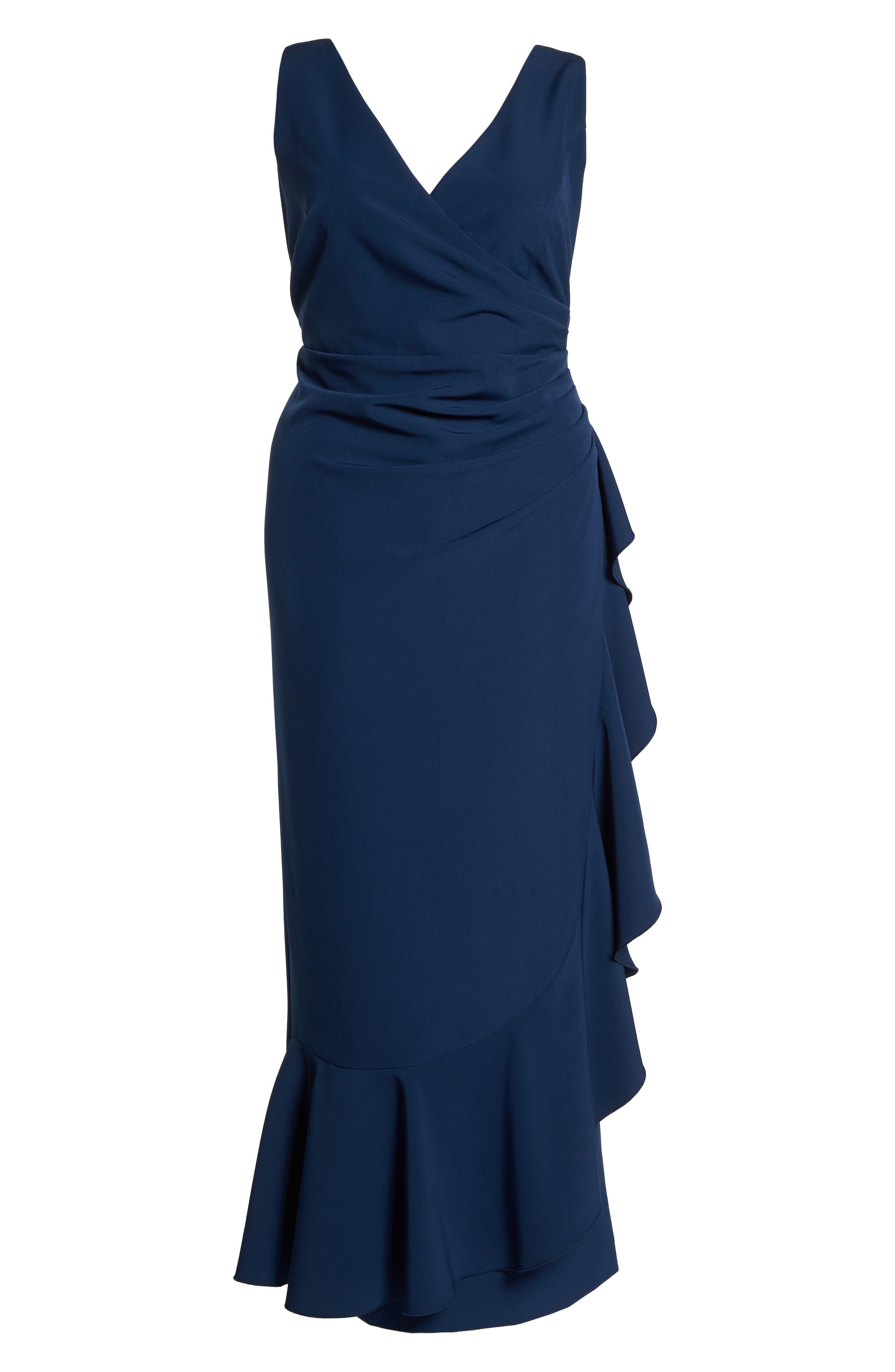 Laguna Faux Wrap Ruffle Gown,                             Alternate thumbnail 6, color,                             Blue