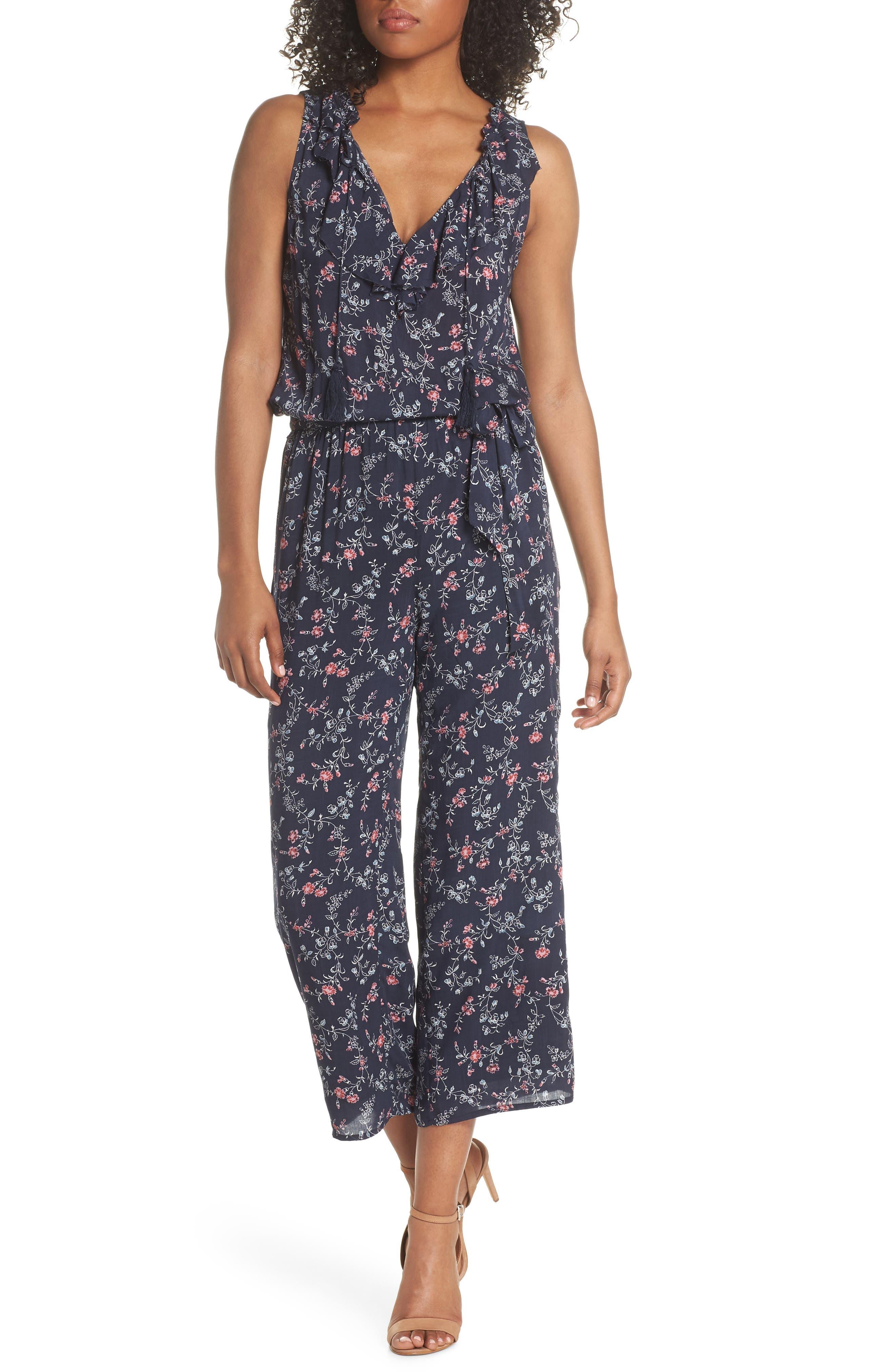 Paletta Floral Print Crop Jumpsuit,                         Main,                         color, Dark Ink Blue